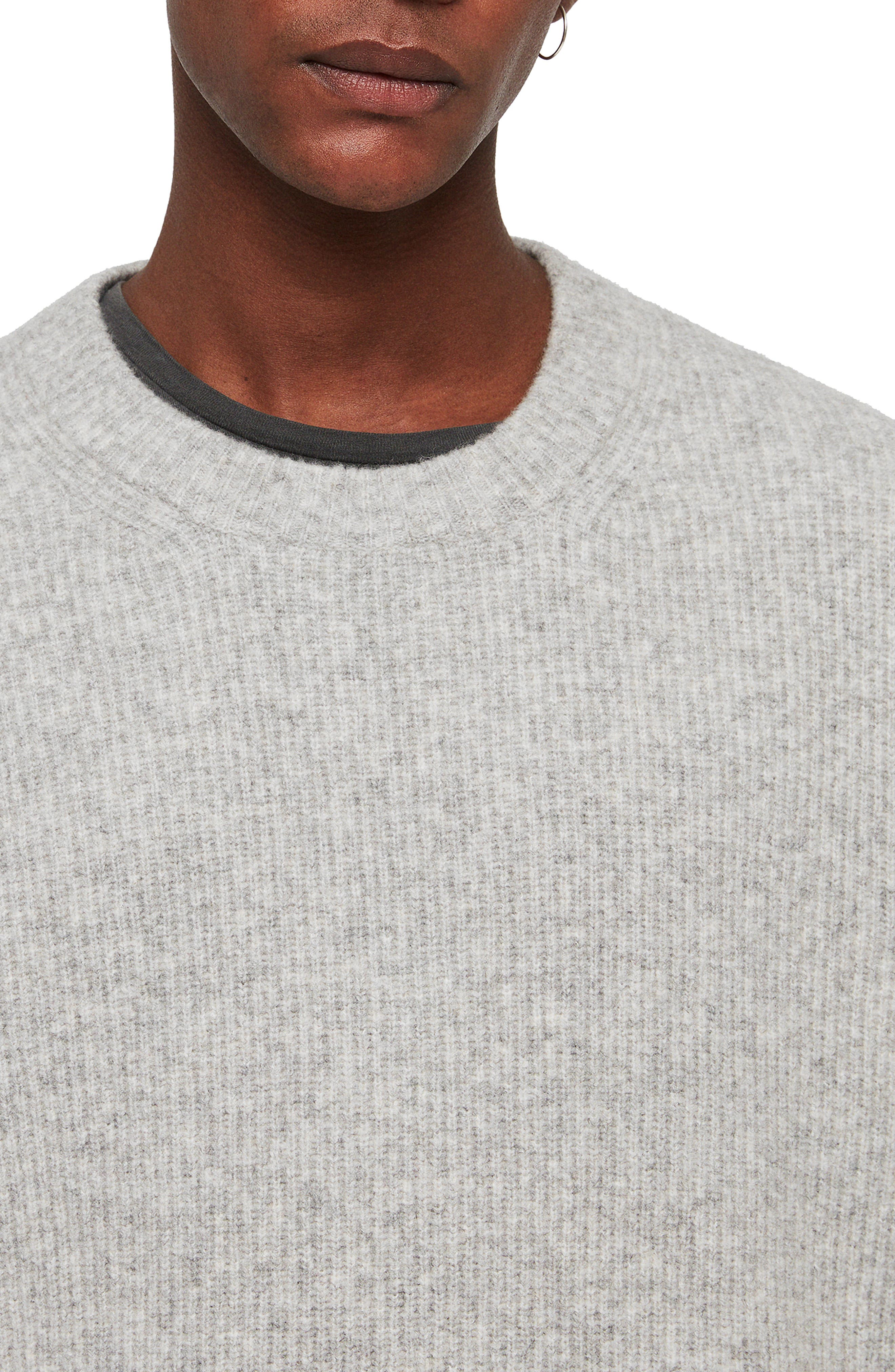 Path Wool Blend Sweater,                             Alternate thumbnail 5, color,                             LIGHT GREY MARL