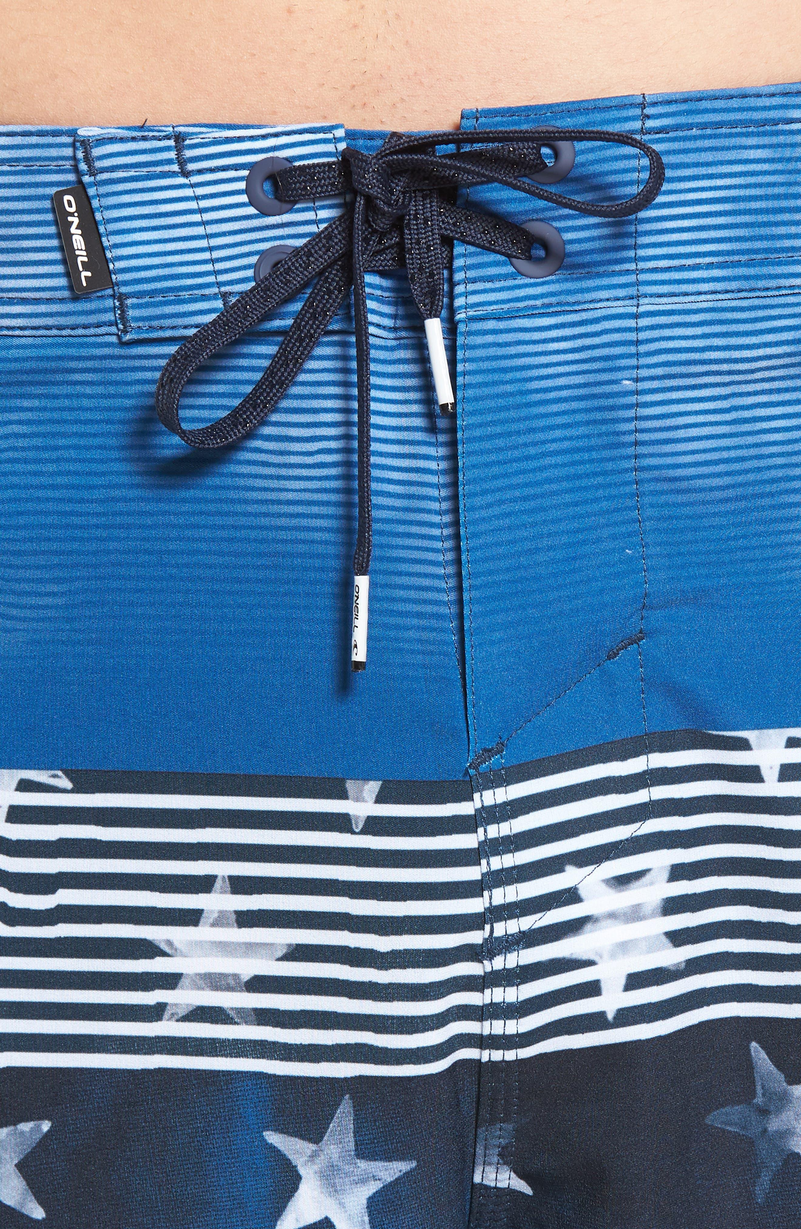 Hyperfreak Board Shorts,                             Alternate thumbnail 4, color,                             RED WHITE BLUE