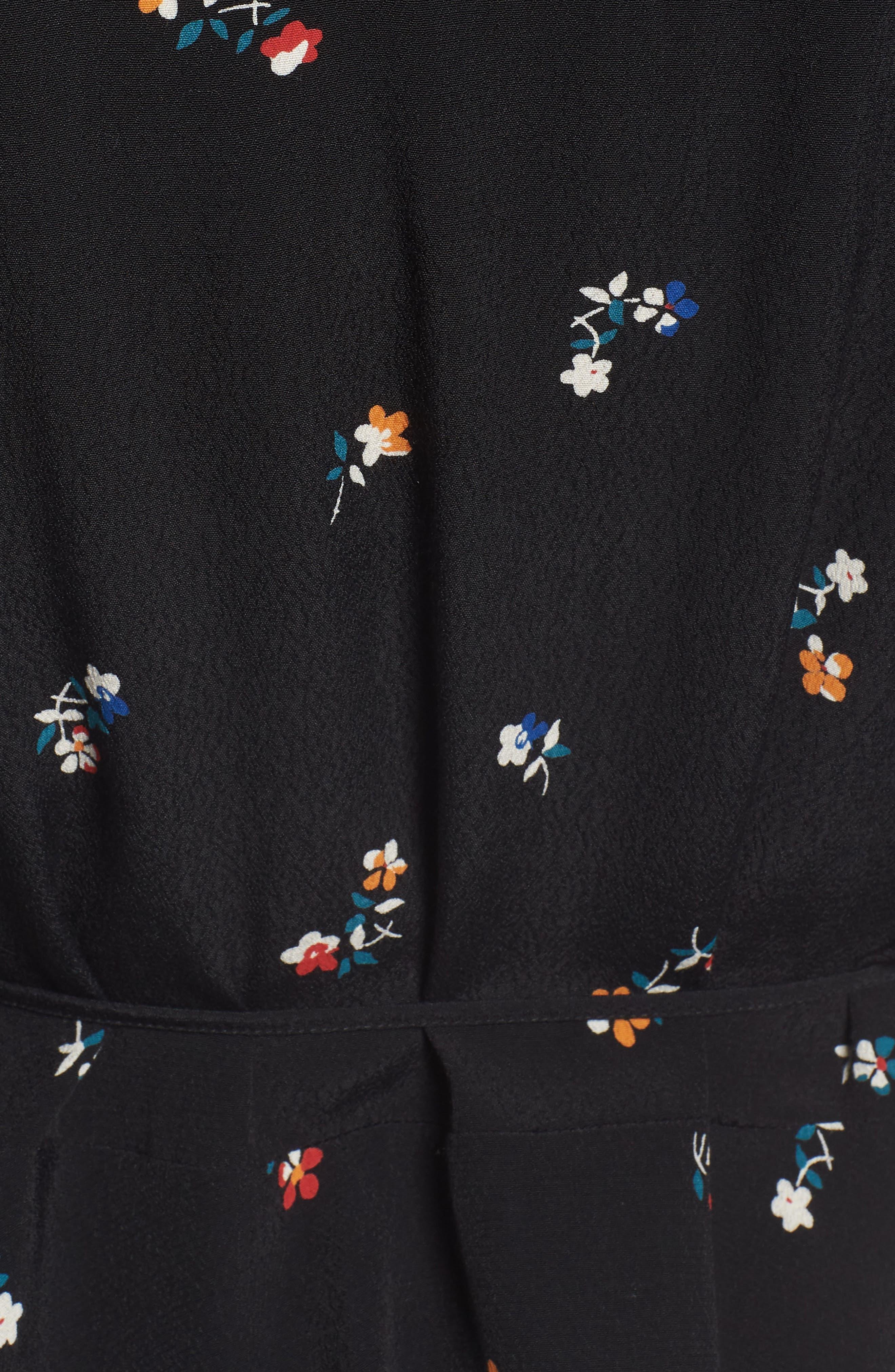 Simone Floral Ruffle Wrap Blouse,                             Alternate thumbnail 5, color,                             BLACK KYOTO FLORAL
