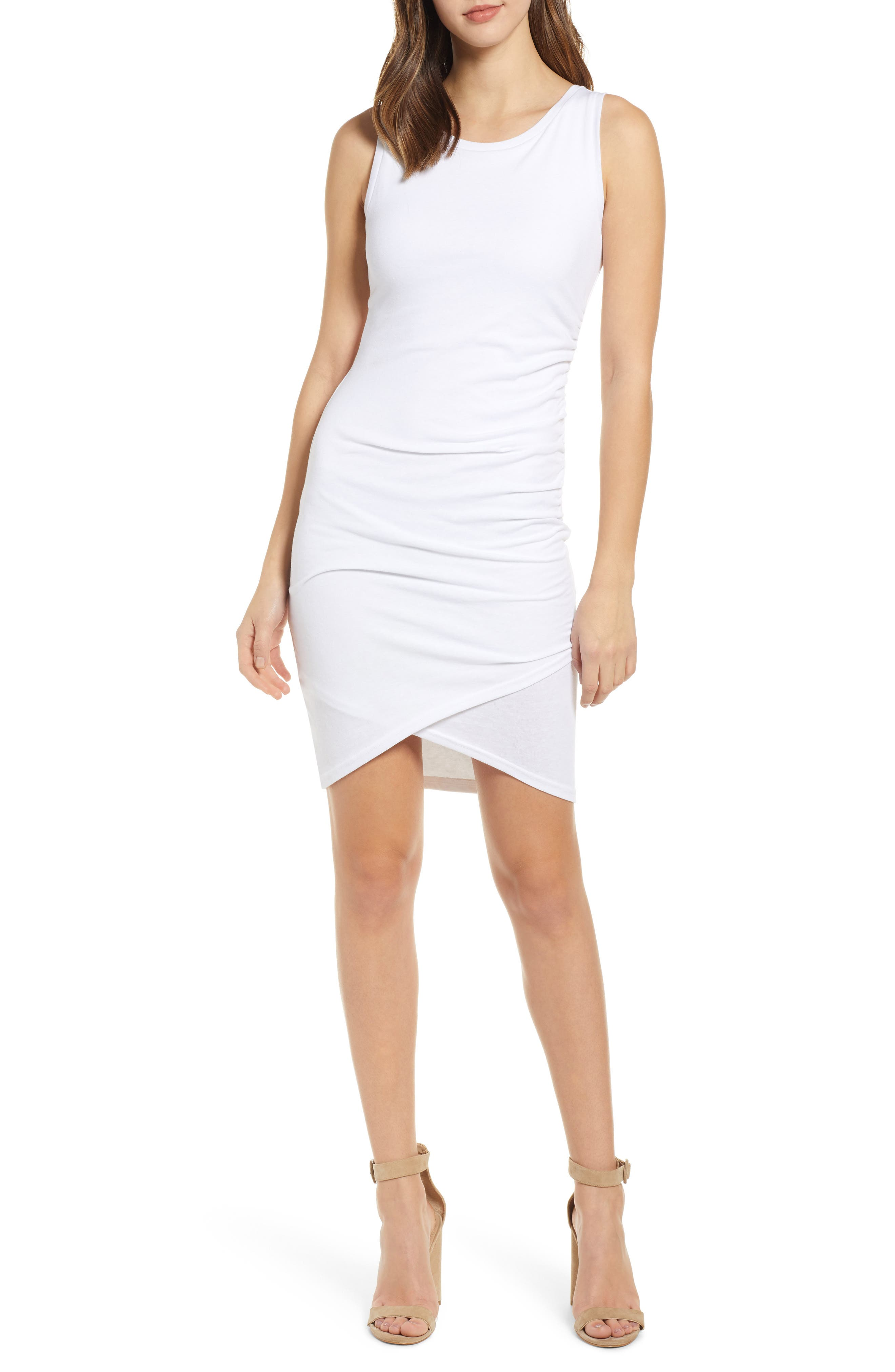 Leith Ruched Body-Con Tank Dress, White