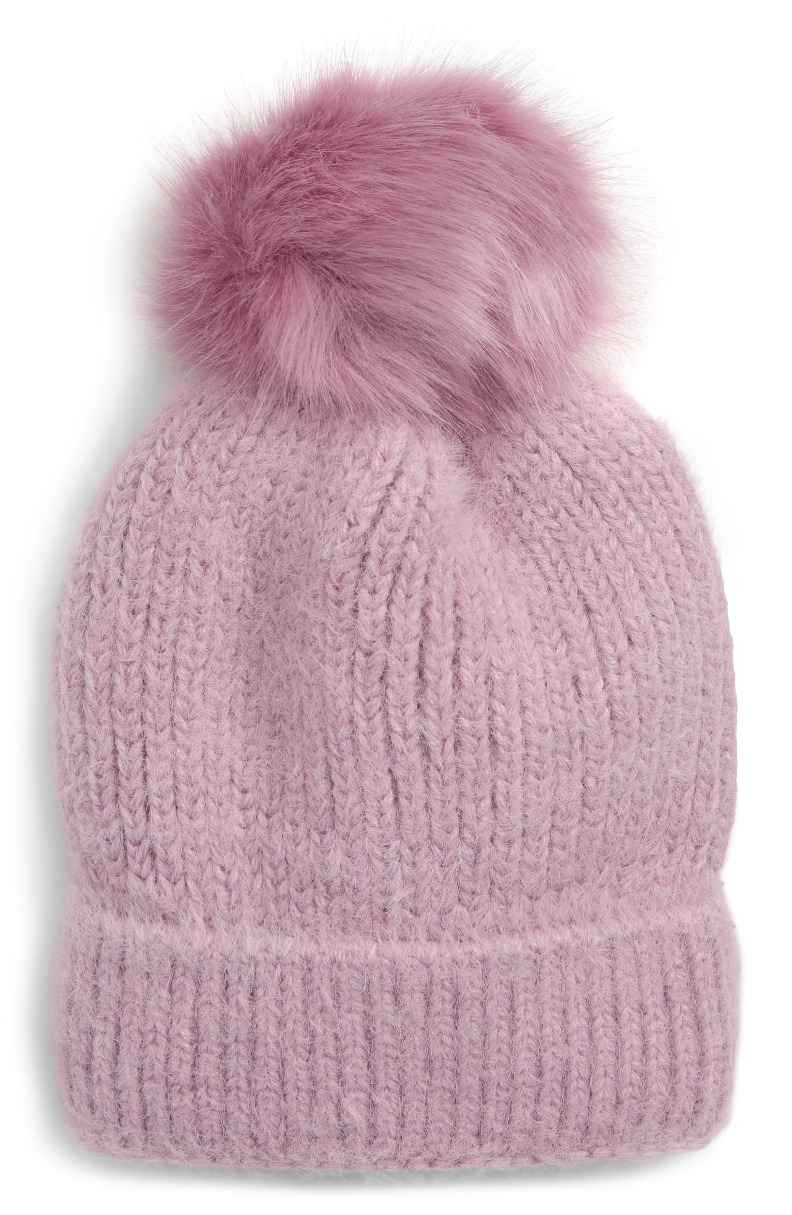 Faux Fur Pompom Beanie,                             Main thumbnail 1, color,                             530