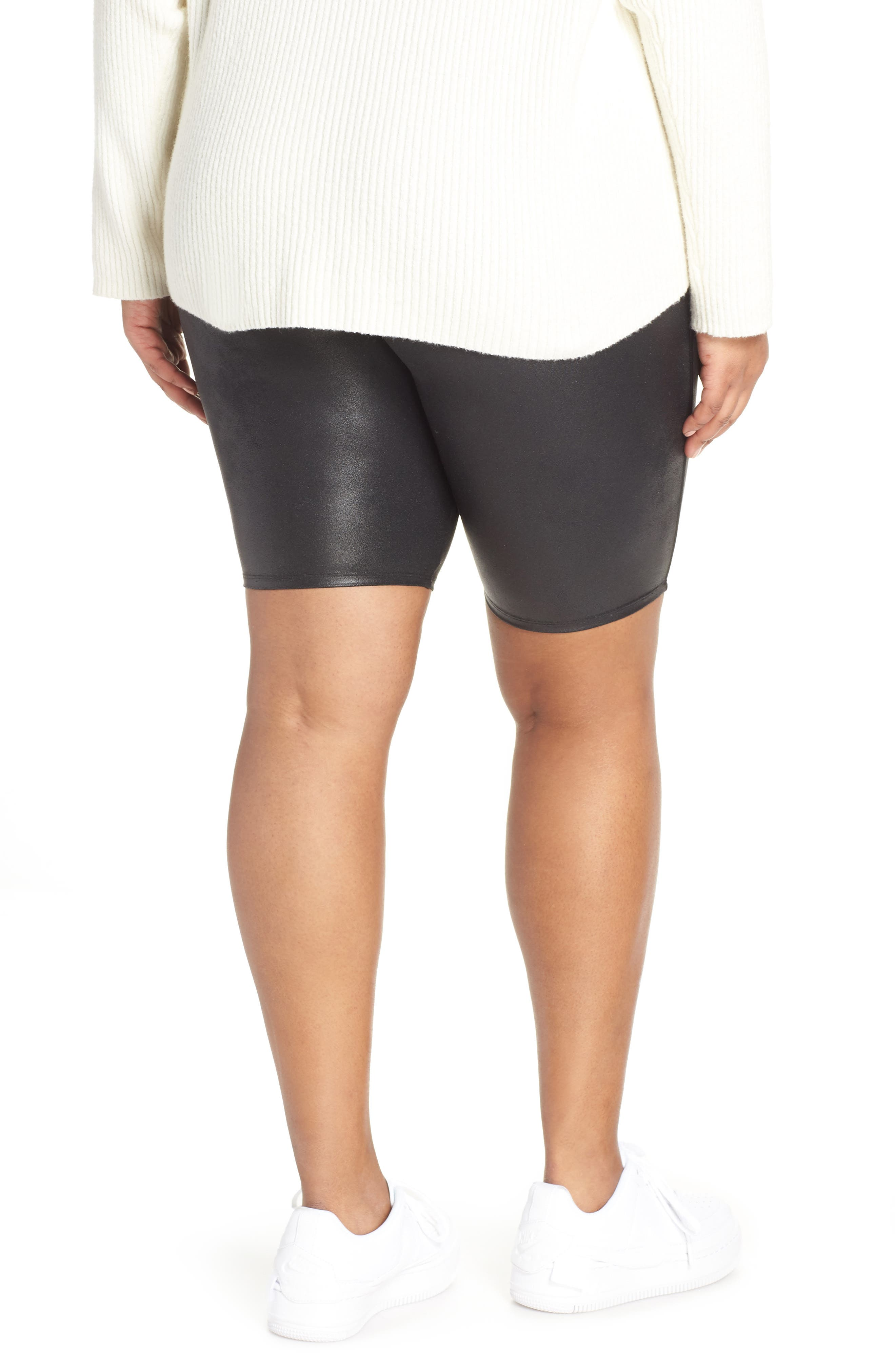 Faux Leather Bike Shorts,                             Alternate thumbnail 2, color,                             BLACK