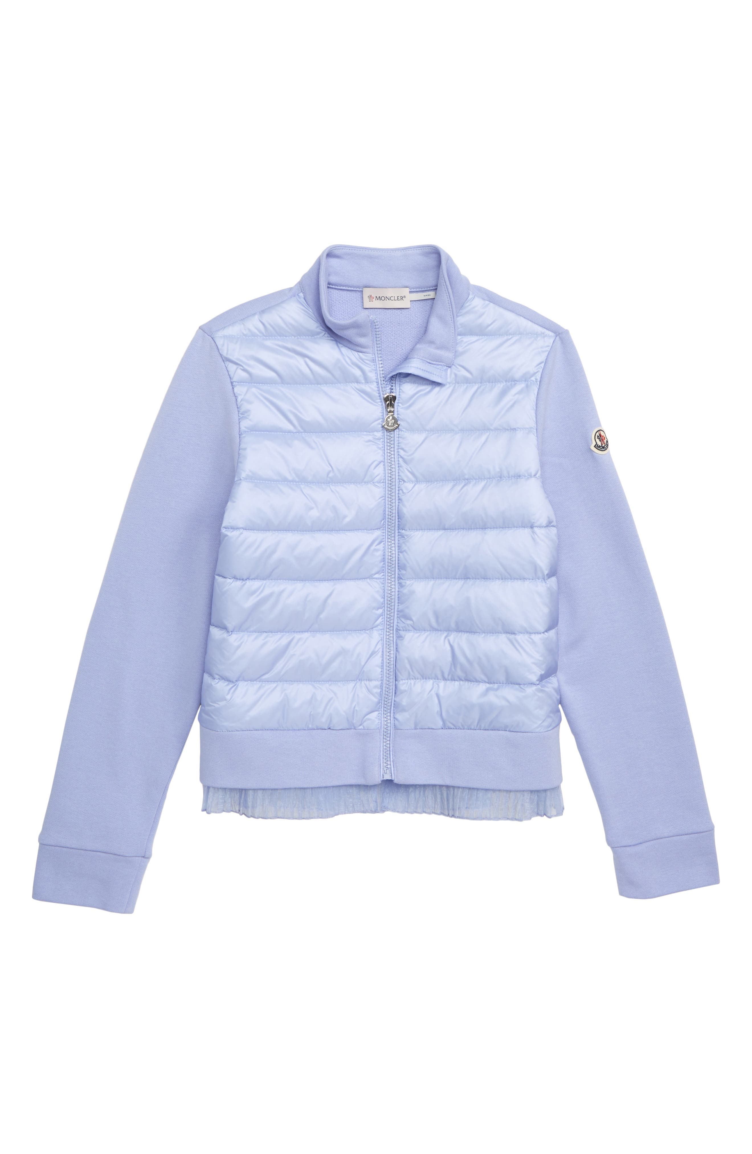MONCLER,                             Maglia Quilted Down & Knit Cardigan,                             Main thumbnail 1, color,                             604 LILAC