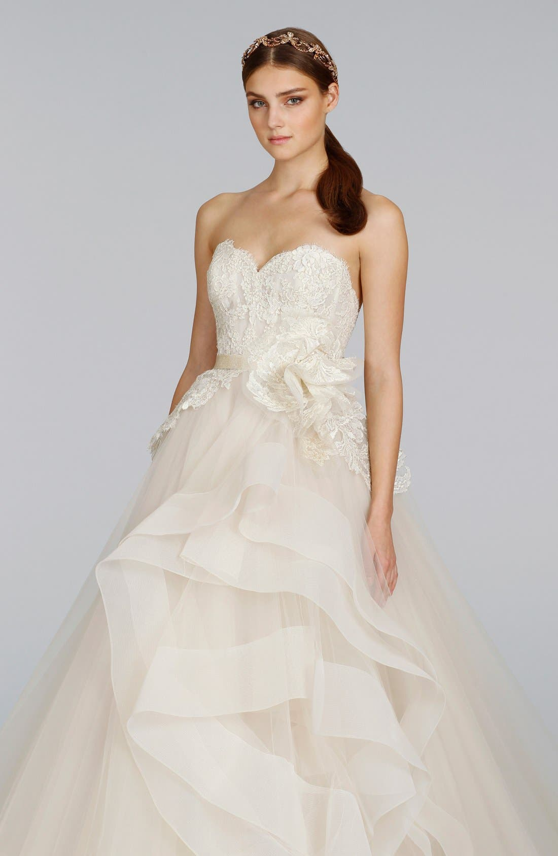 Strapless Lace & Layered Tulle Ballgown,                             Alternate thumbnail 2, color,                             IVORY/GOLD/CHAMPAGNE