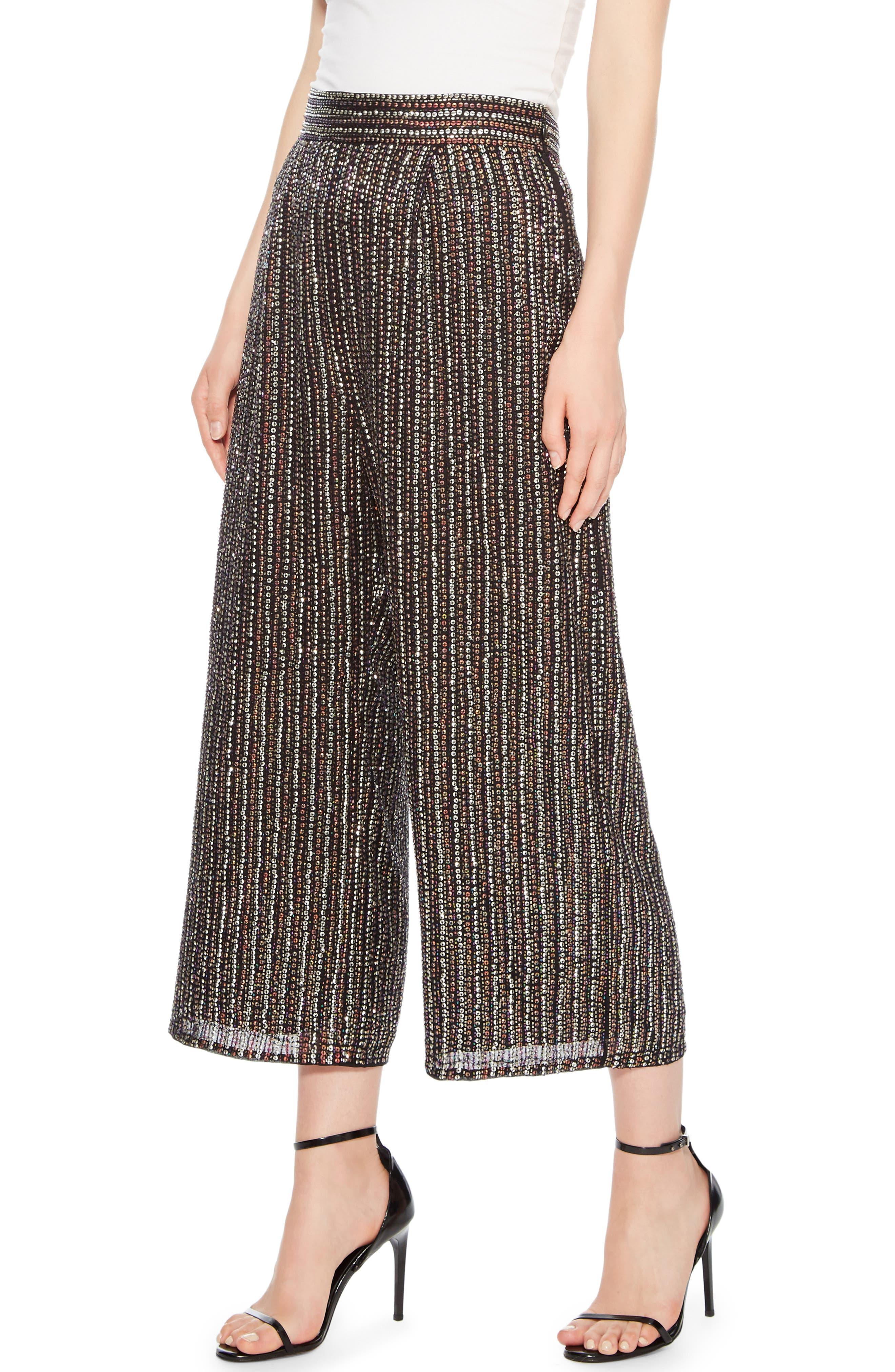 Ellen Wide Leg Crop Pants,                             Alternate thumbnail 3, color,                             BLACK MULTI