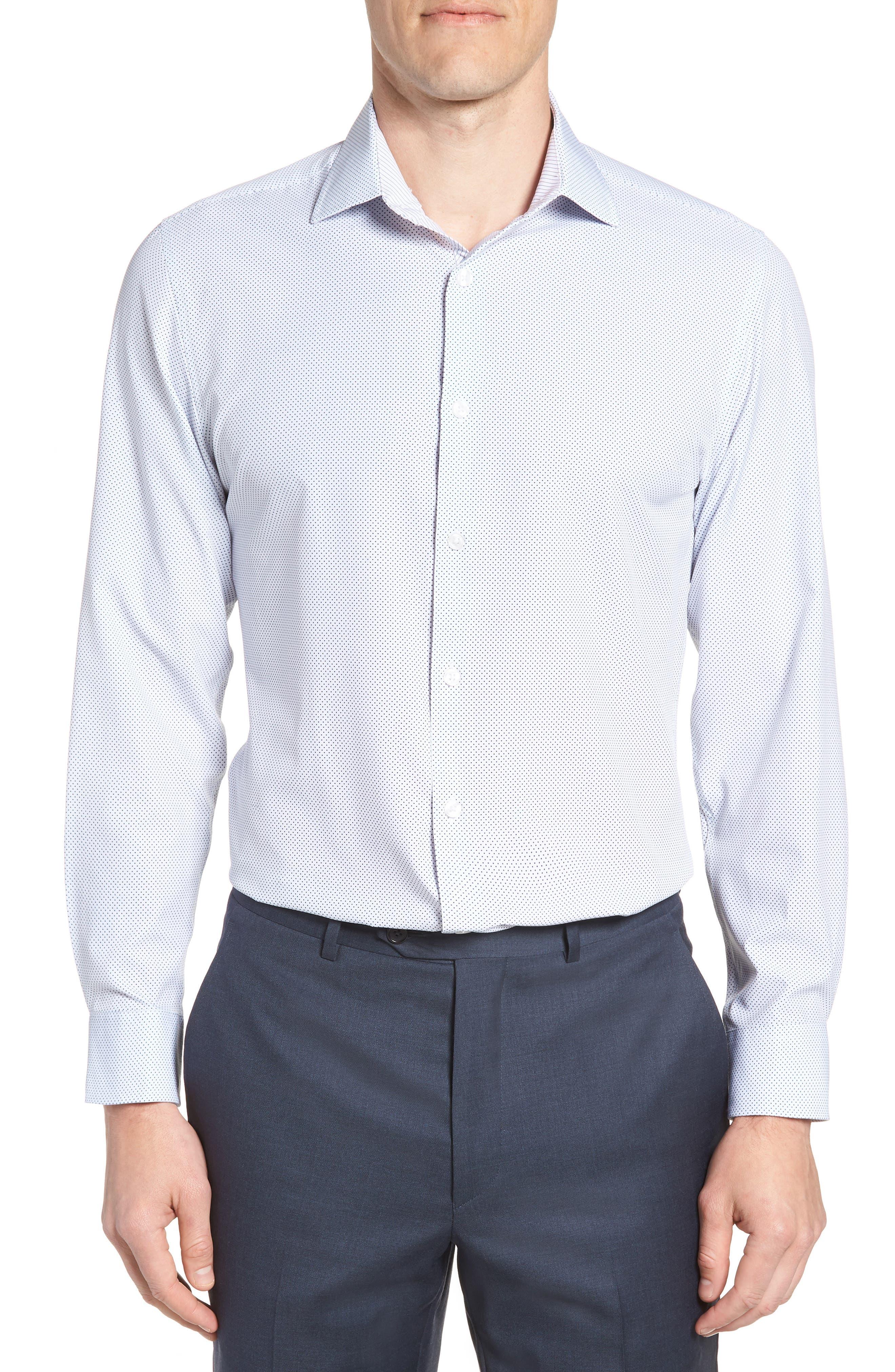 W.R.K Trim Fit Dot 4-Way Stretch Dress Shirt, Main, color, 100