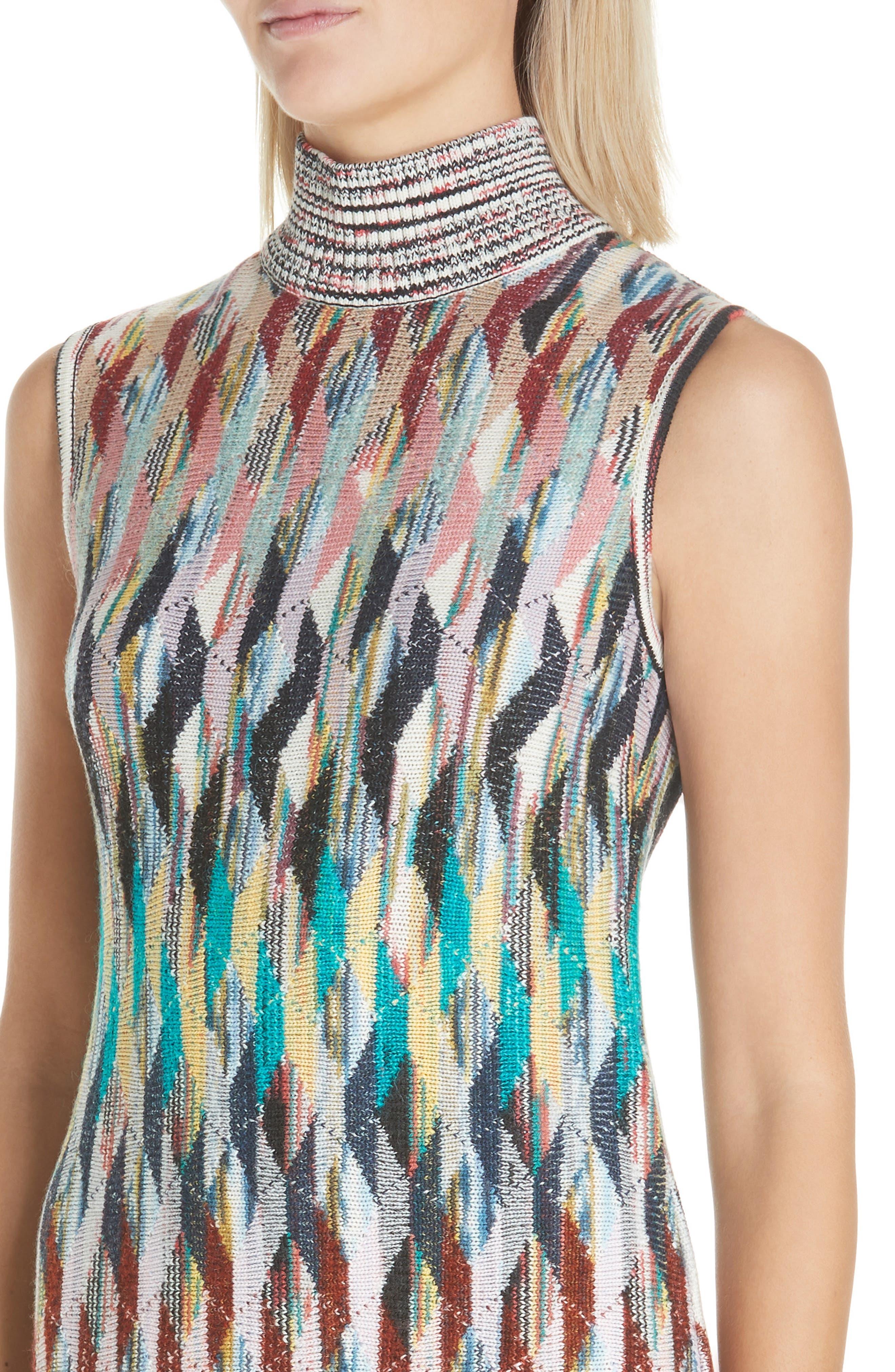 Knit Turtleneck Dress,                             Alternate thumbnail 4, color,                             MULTI