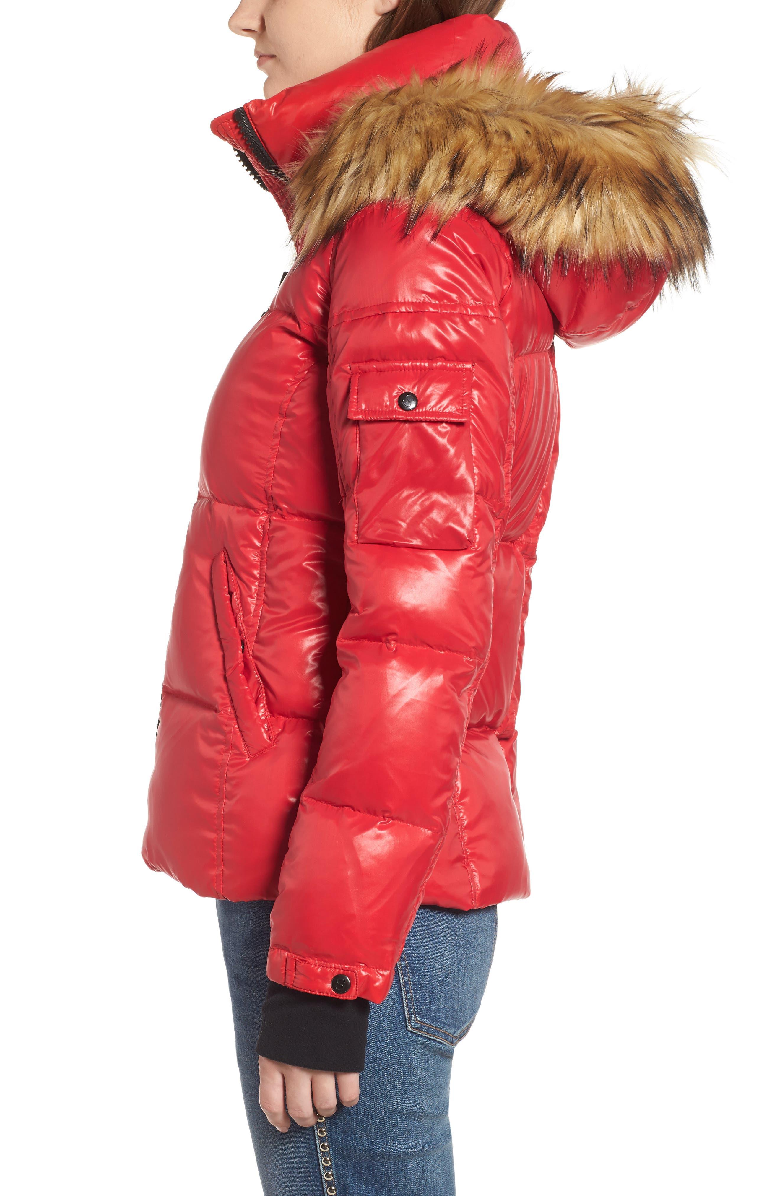 Kylie Faux Fur Trim Gloss Puffer Jacket,                             Alternate thumbnail 16, color,