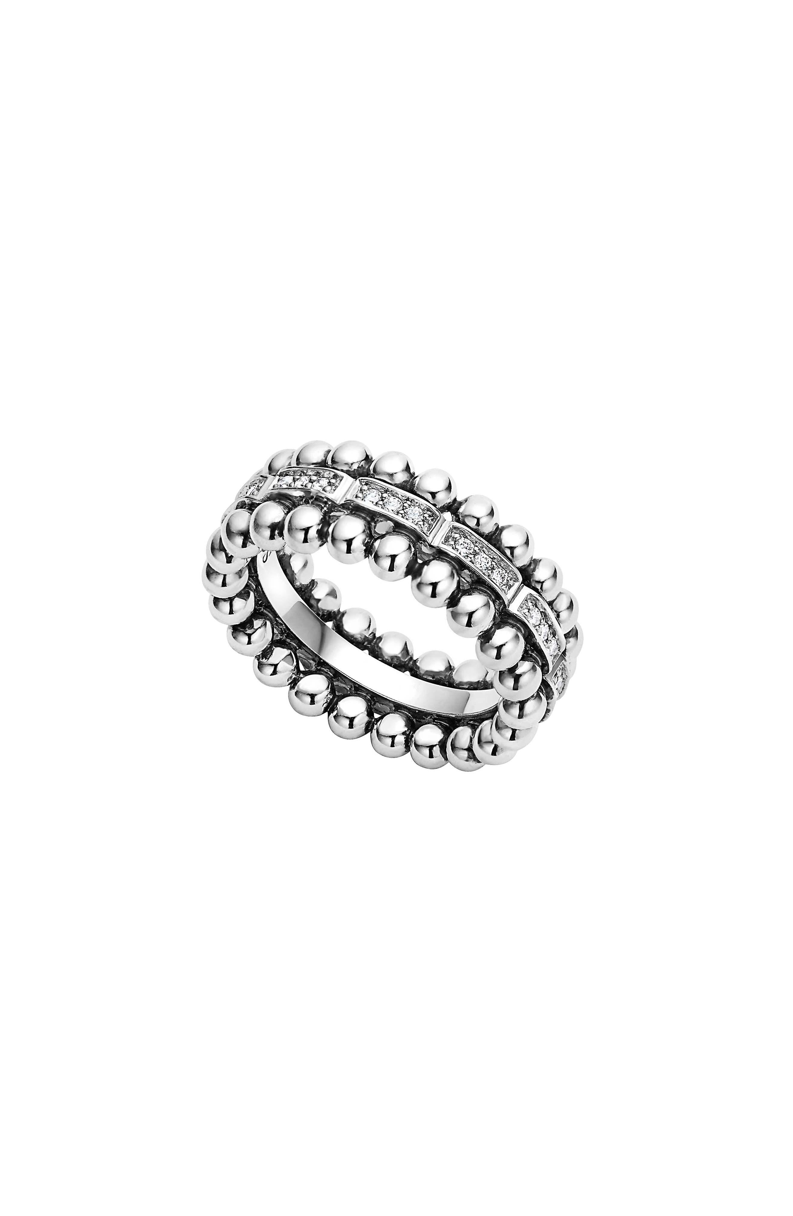 Caviar Spark Diamond Band Ring,                             Main thumbnail 1, color,                             SILVER/ DIAMOND