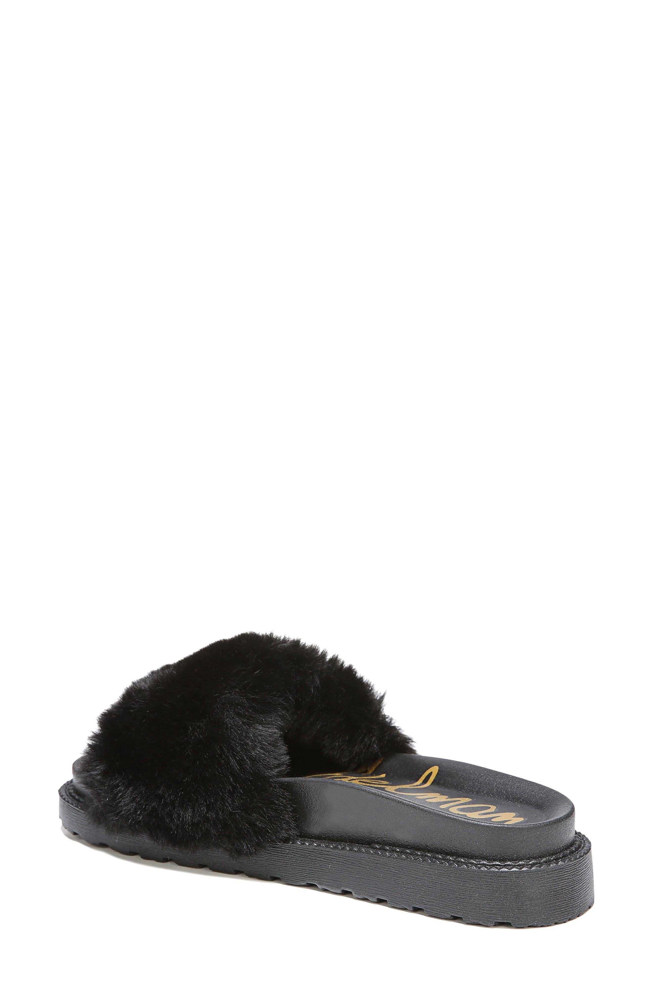 SAM EDELMAN,                             Blaire Faux Fur Platform Slide Sandal,                             Alternate thumbnail 2, color,                             001