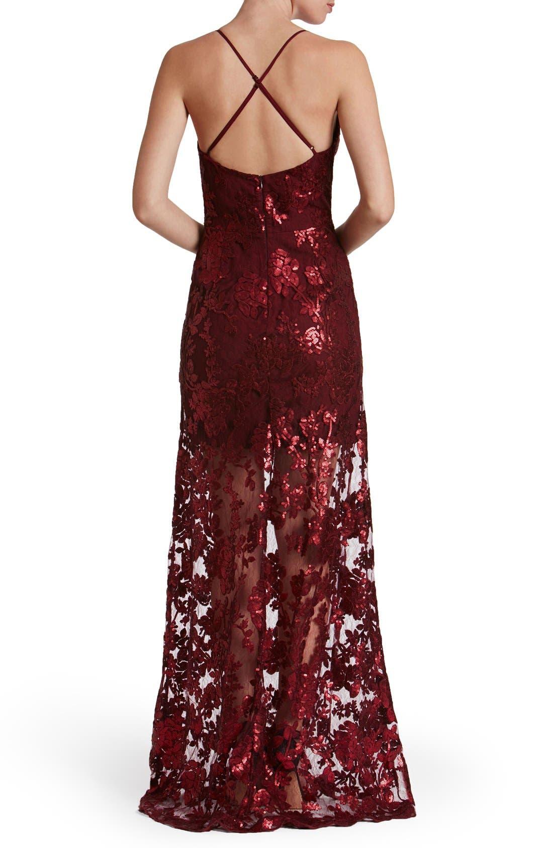'Vivienne' Sequin Lace Gown,                             Alternate thumbnail 6, color,