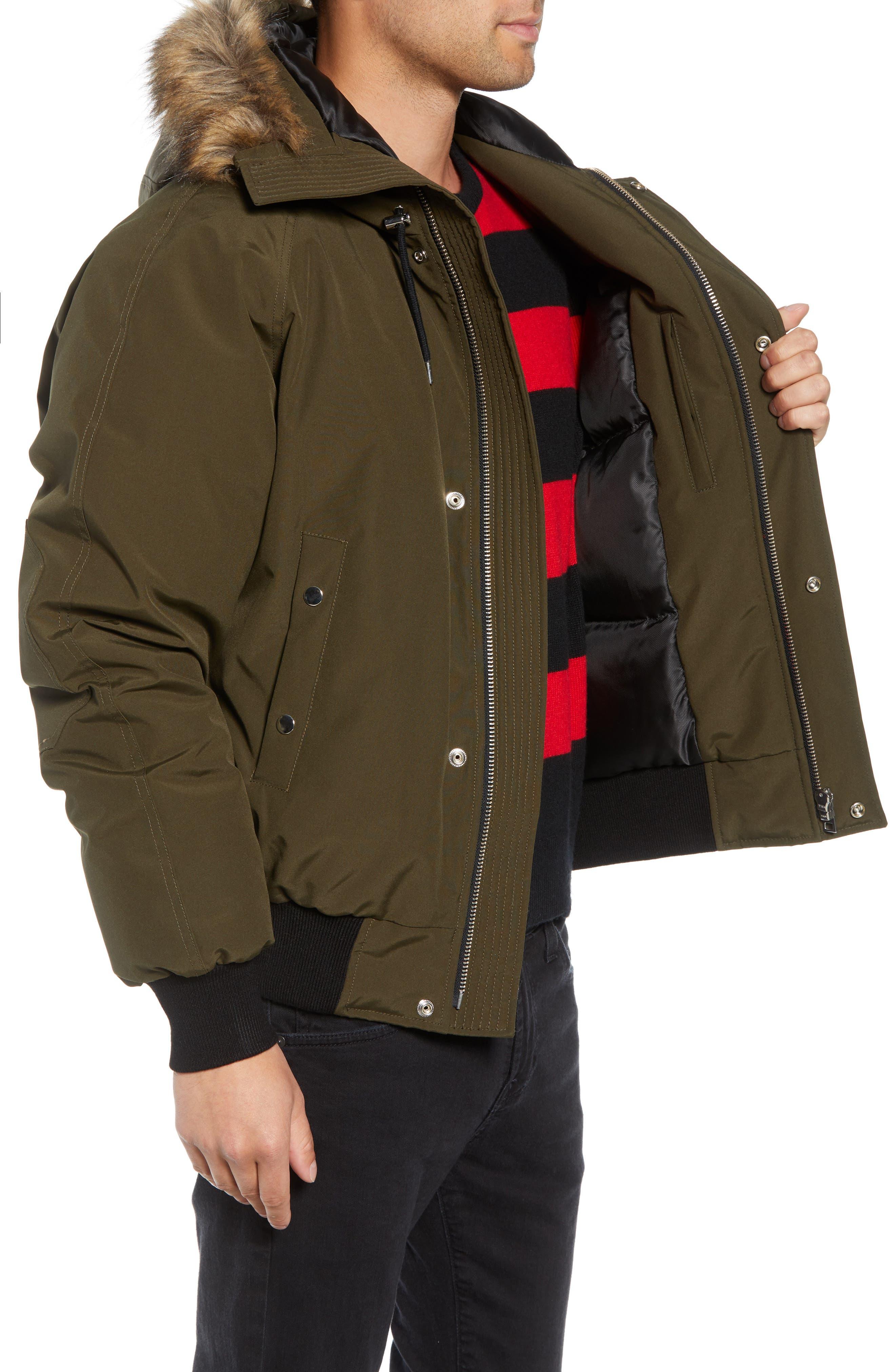 Down Hooded Jacket with Faux Fur Trim,                             Alternate thumbnail 3, color,                             KHAKI