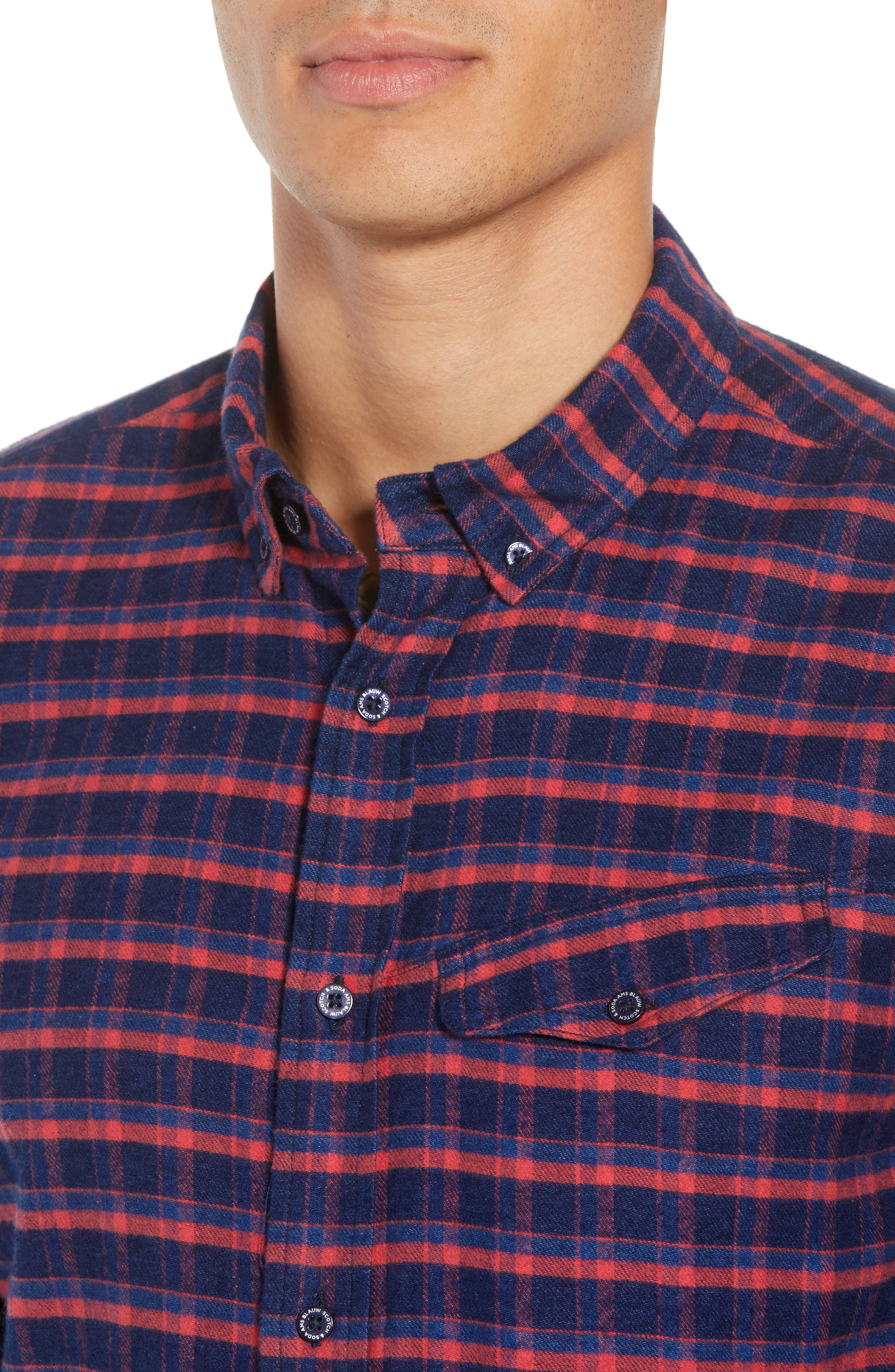 Amsterdams Blauw Check Flannel Sport Shirt,                             Alternate thumbnail 4, color,                             411