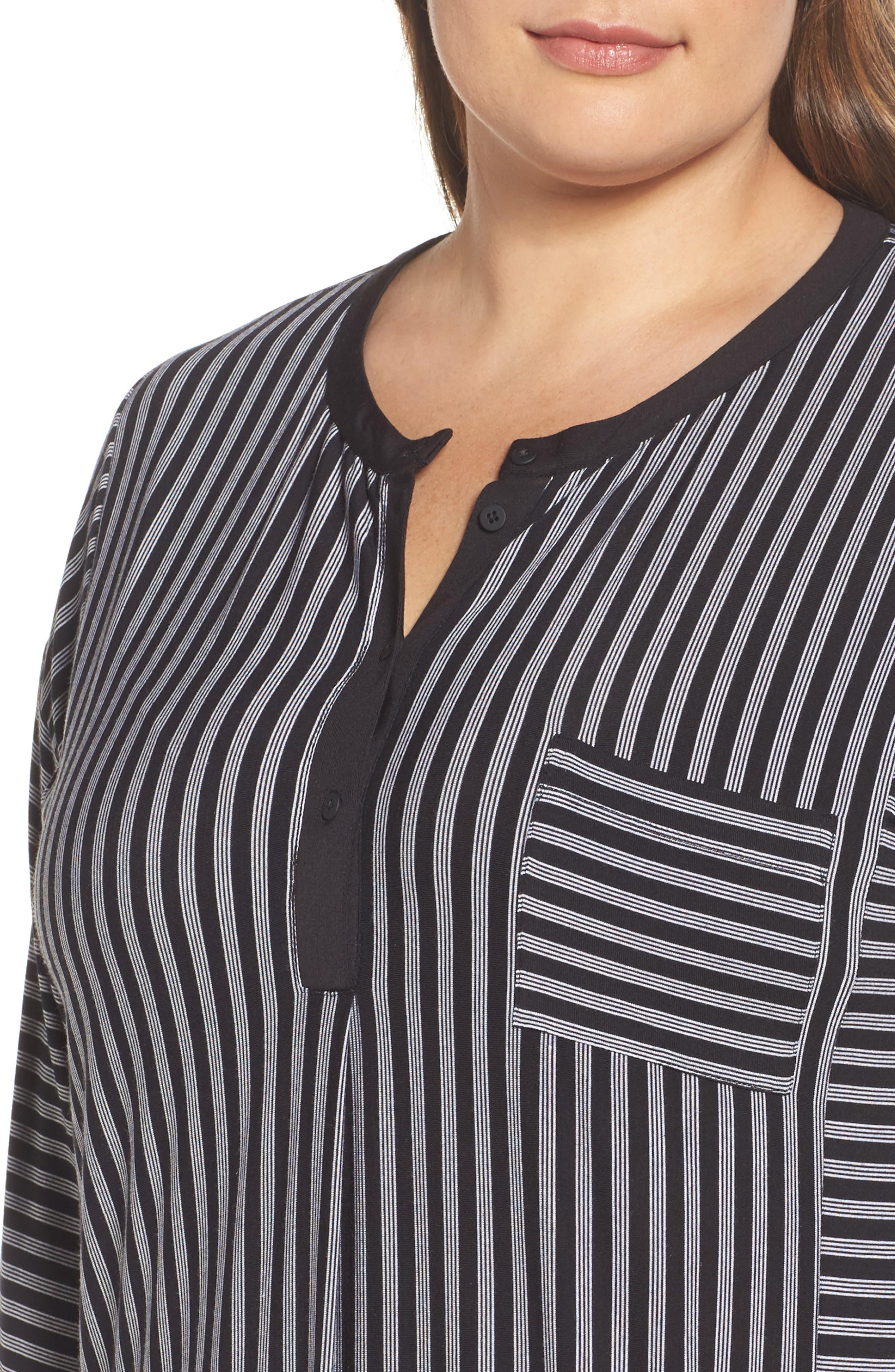 Stripe Sleepshirt,                             Alternate thumbnail 4, color,                             001
