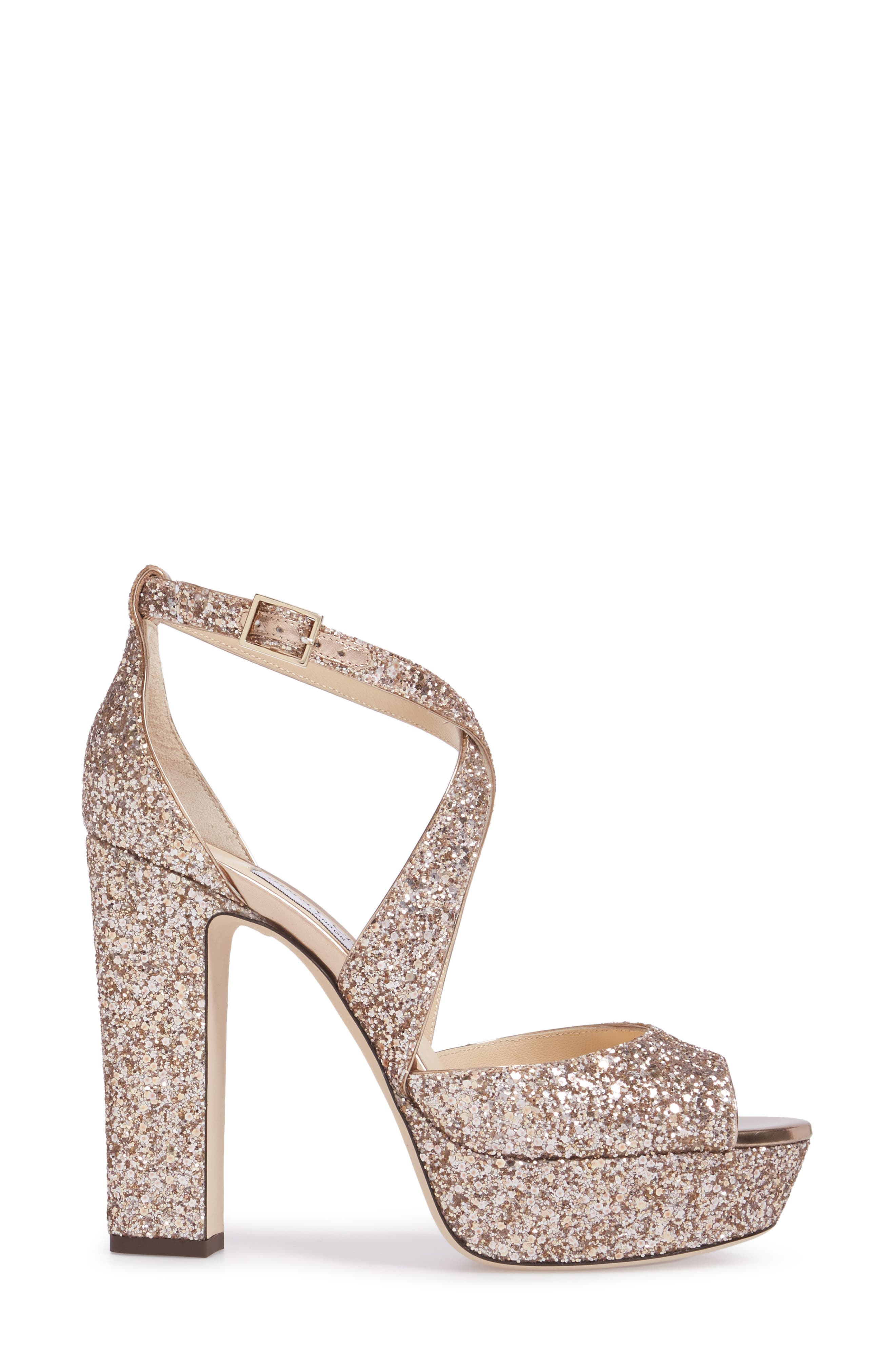 April Glitter Platform Sandal,                             Alternate thumbnail 3, color,                             650