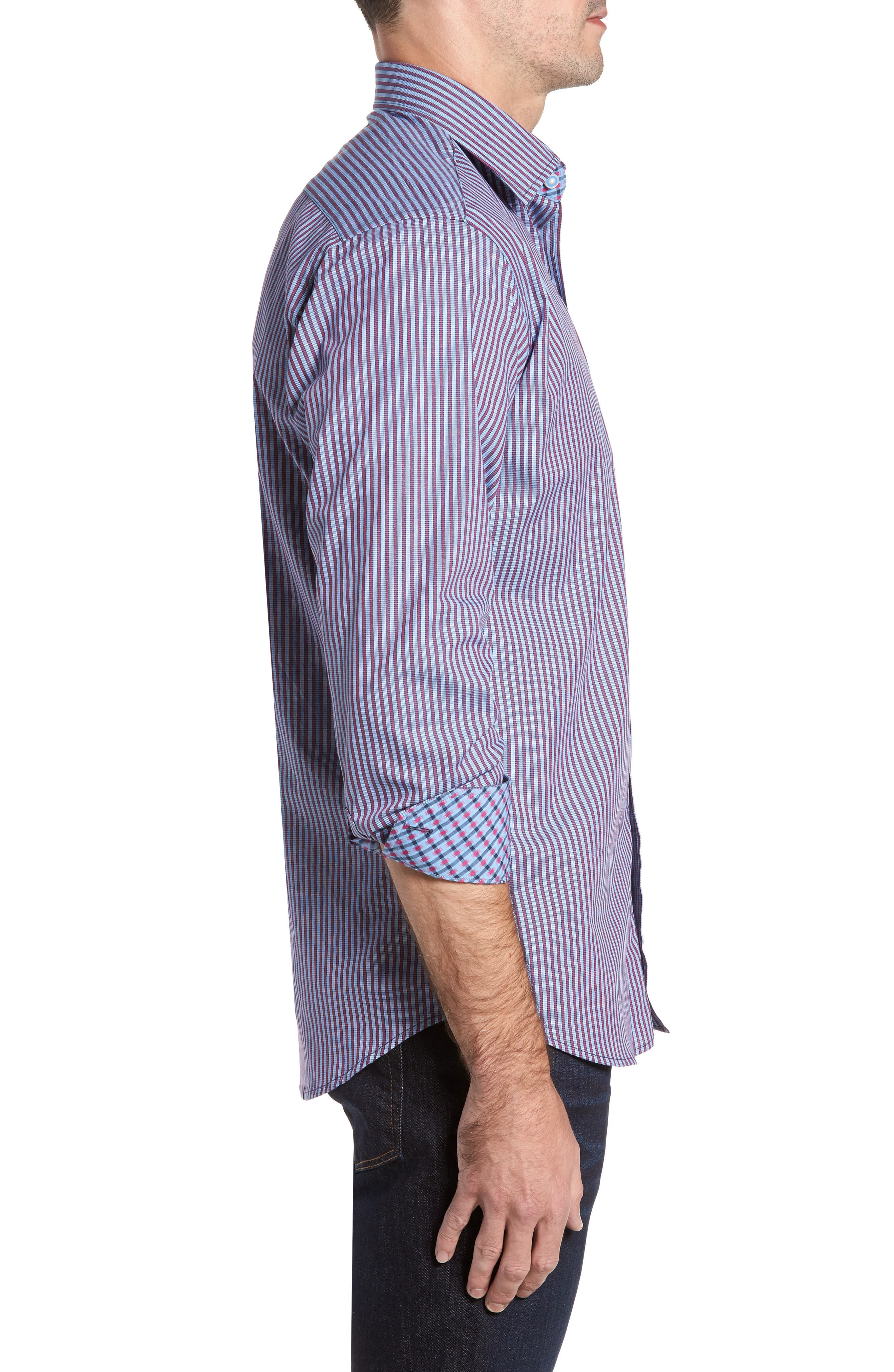 Brownfields Striped Sport Shirt,                             Alternate thumbnail 3, color,                             617