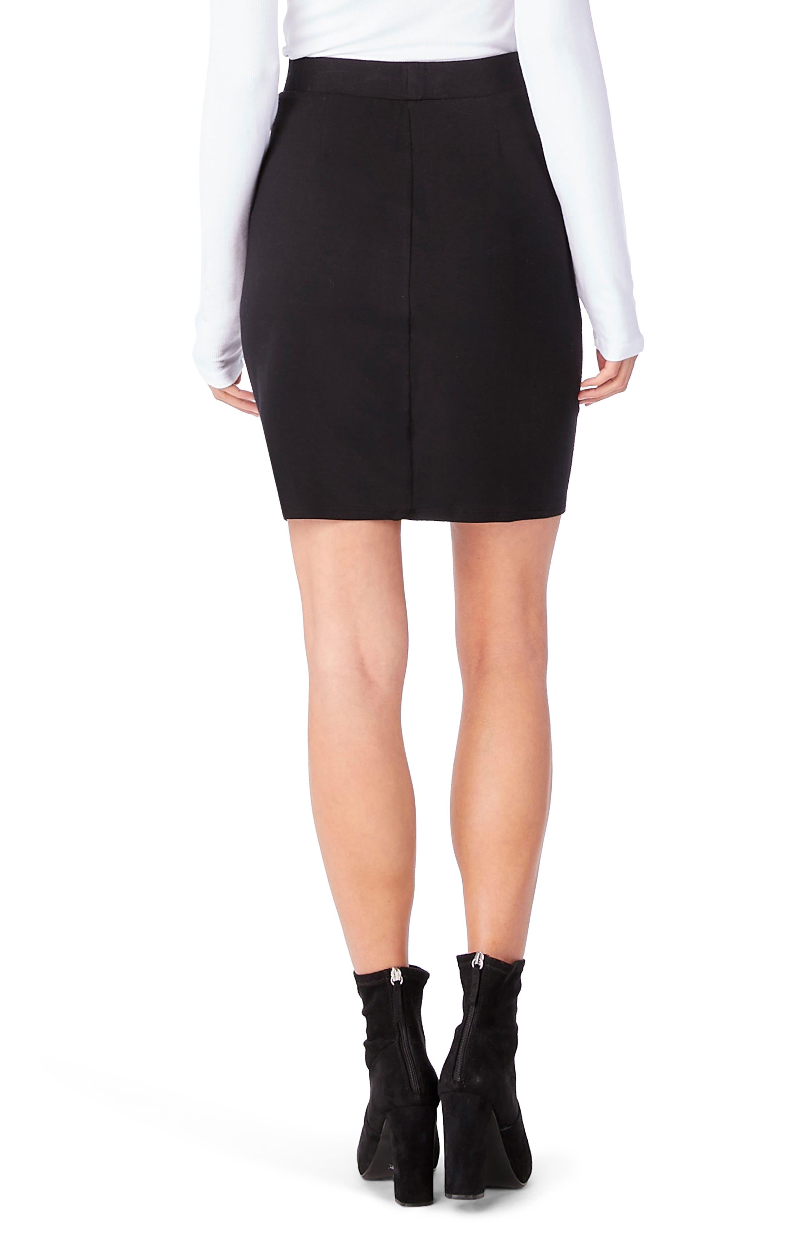 Leather Contrast Zipper Skirt,                             Alternate thumbnail 2, color,                             001
