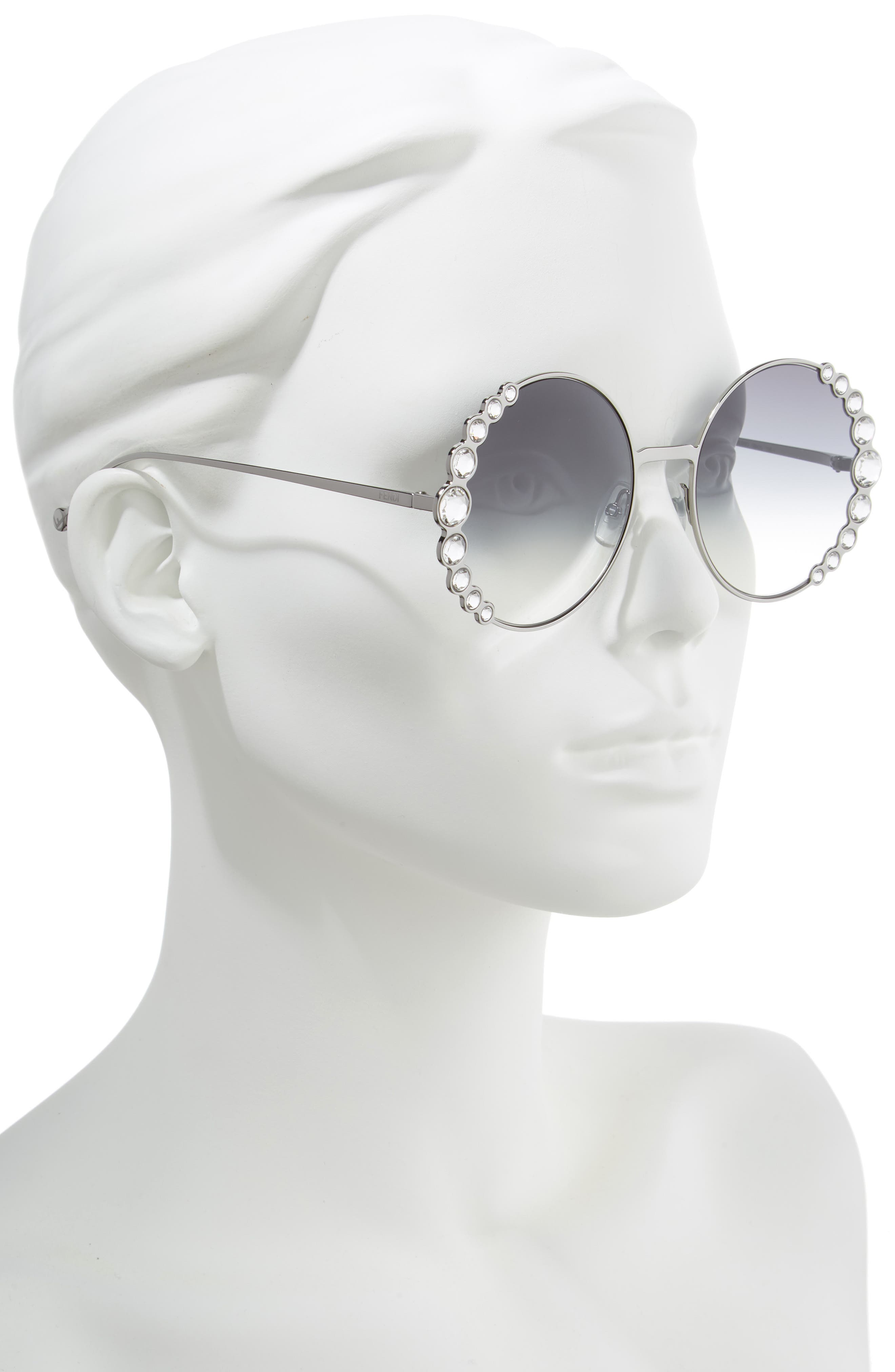 58mm Round Sunglasses,                             Alternate thumbnail 2, color,                             RUTHENIUM