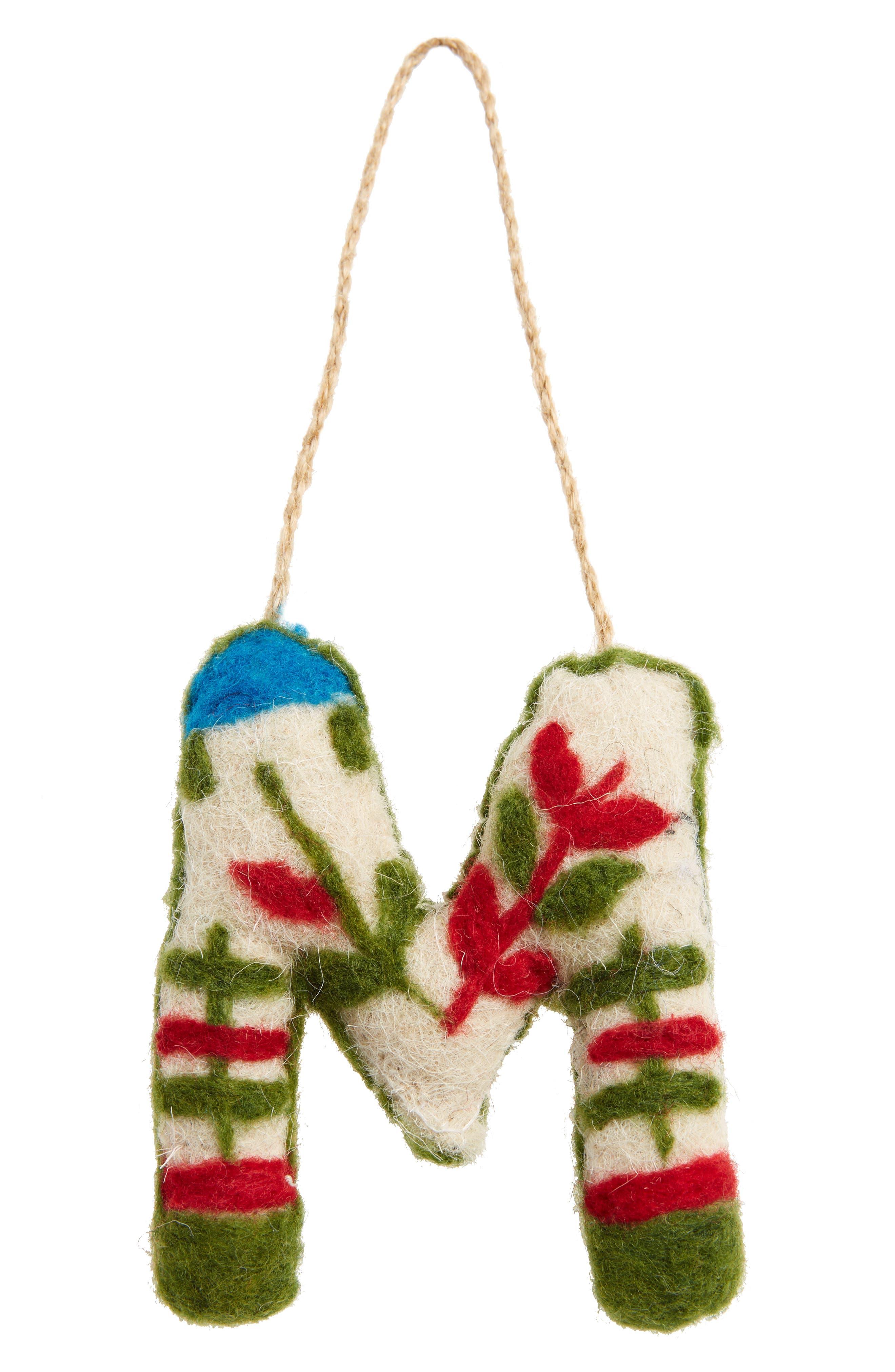 Global Folk Wool Monogram Ornament,                             Main thumbnail 13, color,