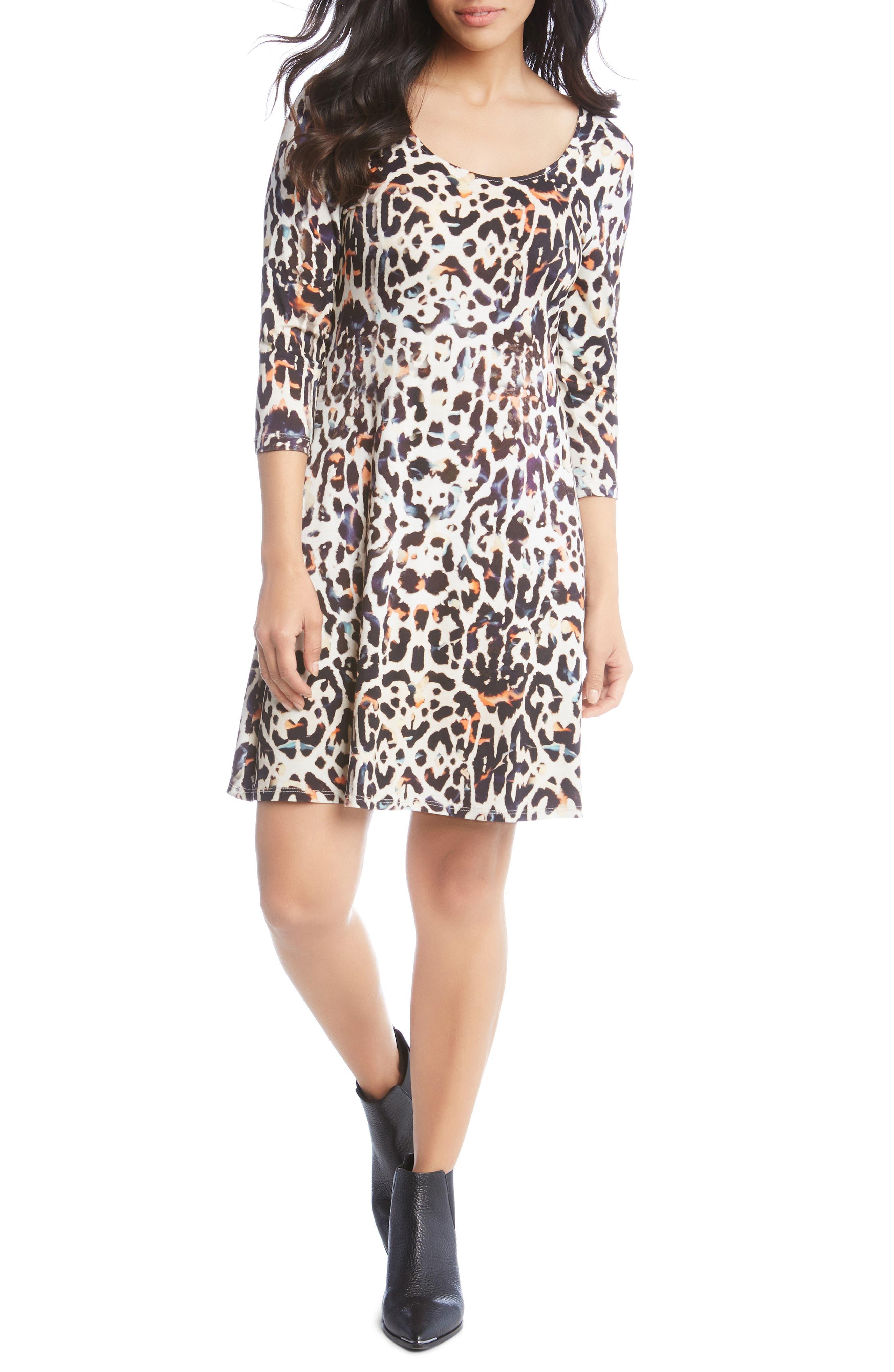 Leopard Print A-Line Dress,                             Main thumbnail 1, color,                             280