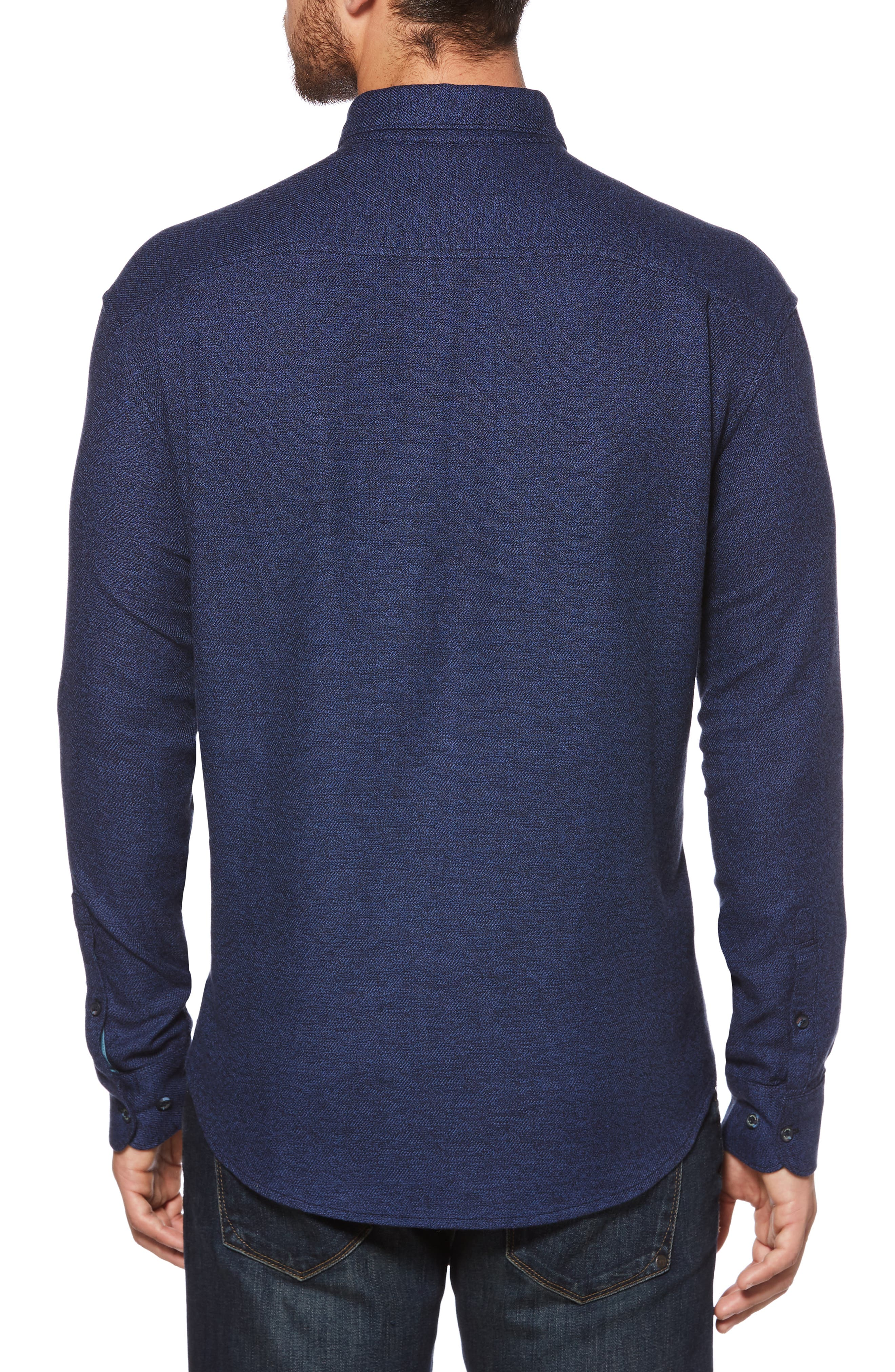 Jaspé Stretch Flannel Sport Shirt,                             Alternate thumbnail 2, color,                             CLASSIC BLUE
