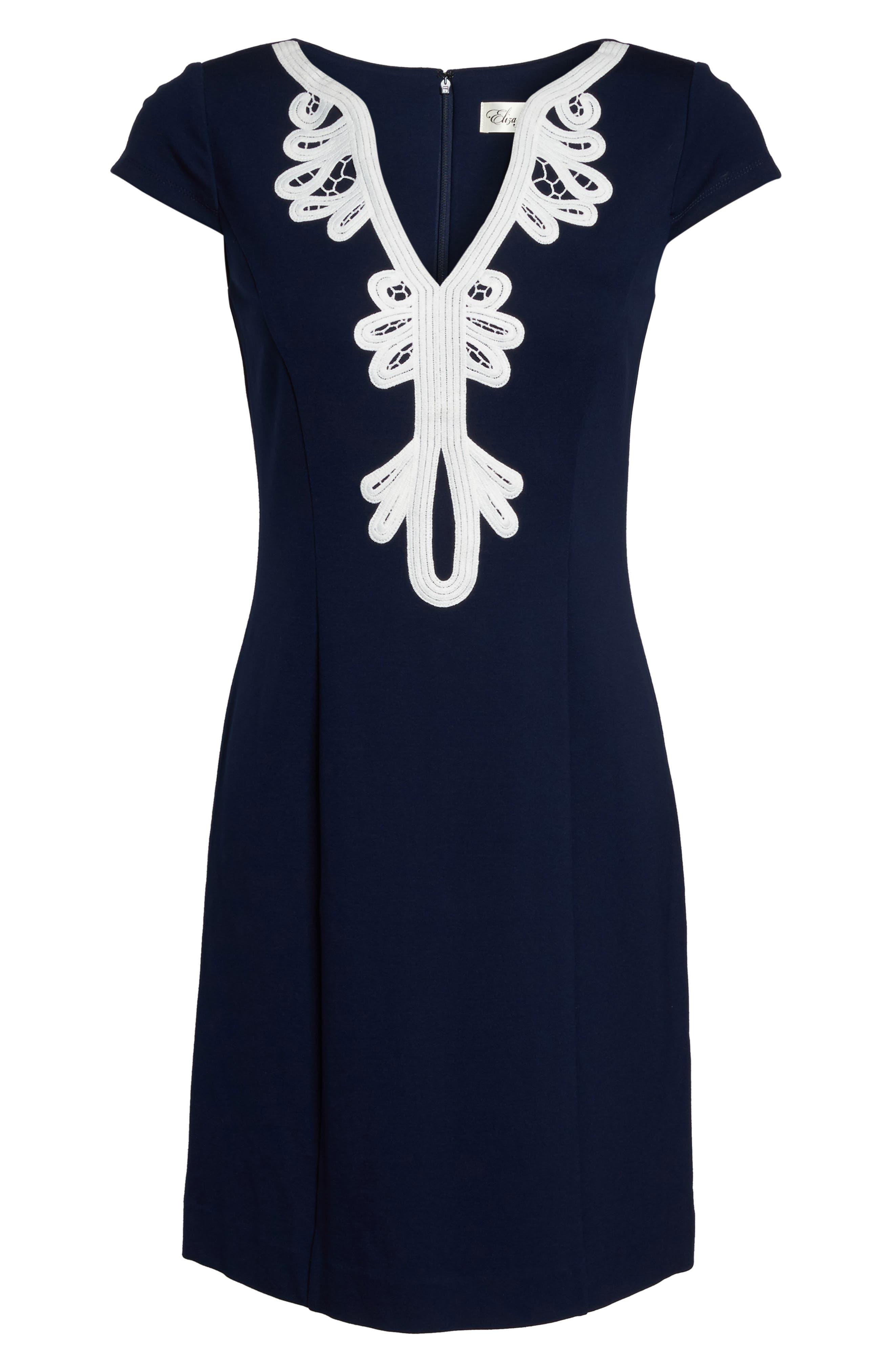 Cap Sleeve Sheath Dress,                             Alternate thumbnail 7, color,                             NAVY