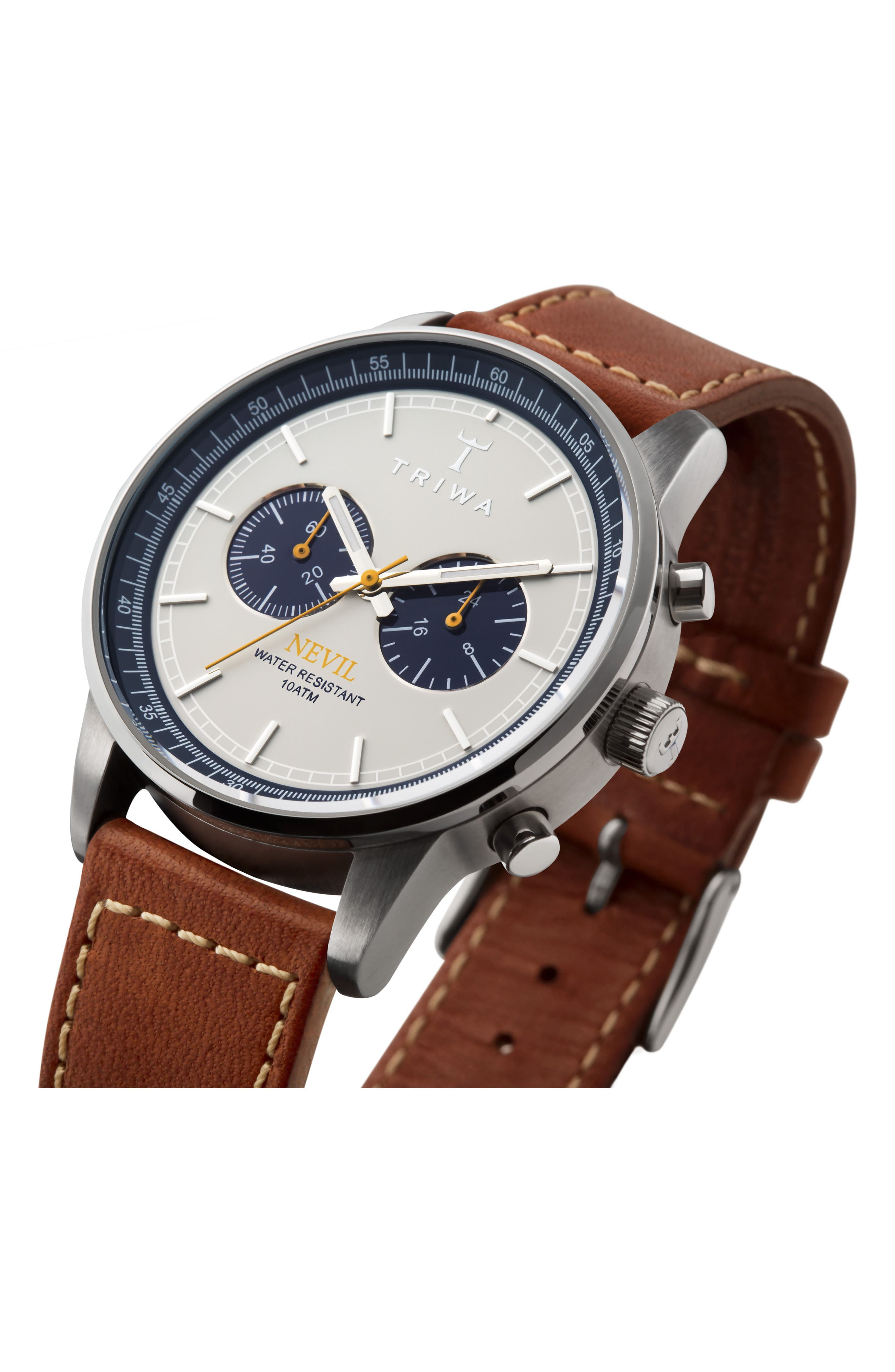 Ocean Nevil Chronograph Leather Strap Watch, 42mm,                             Alternate thumbnail 2, color,                             TAN/ WHITE/ SILVER