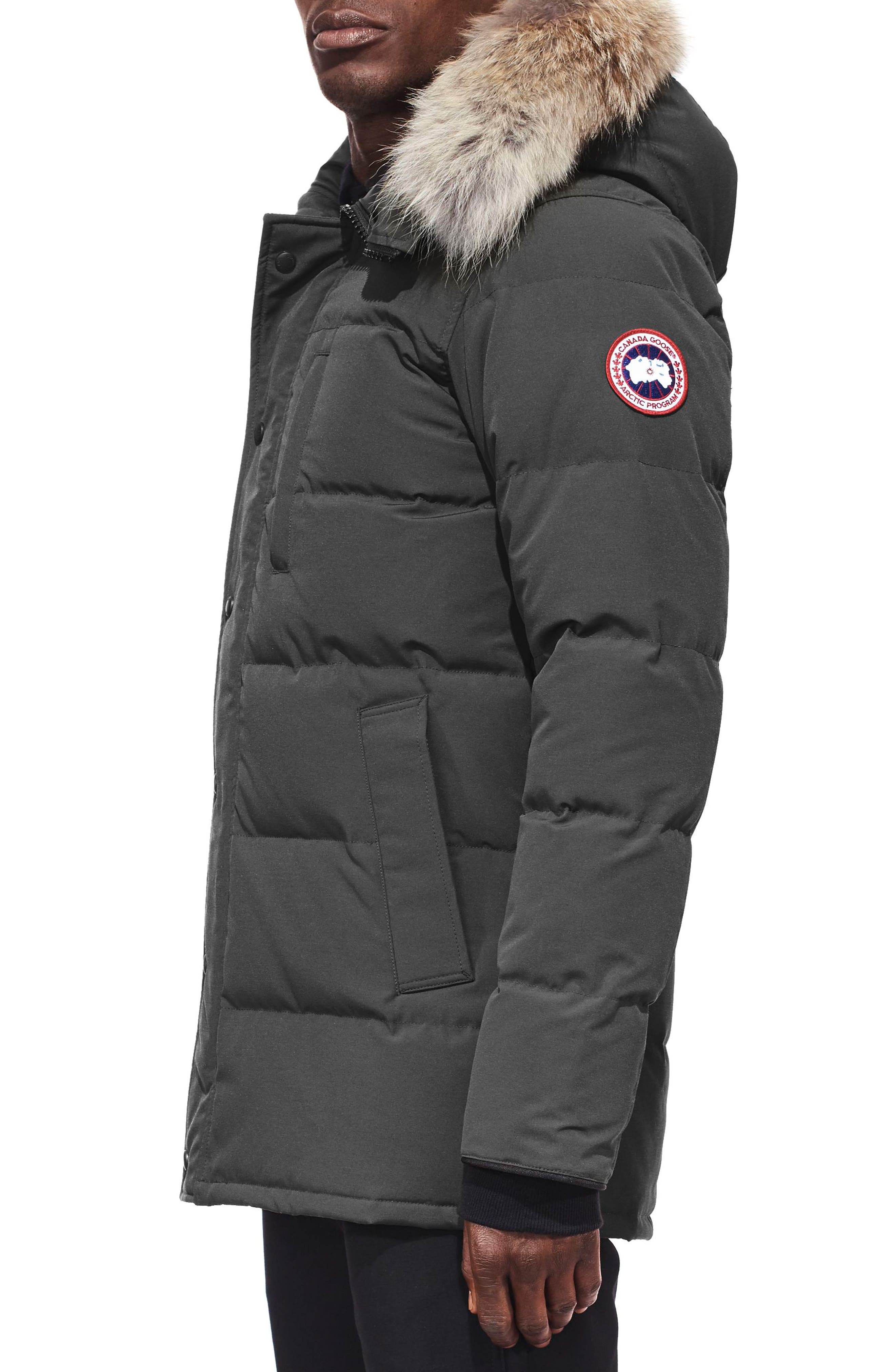 'Carson' Slim Fit Hooded Packable Parka with Genuine Coyote Fur Trim,                             Alternate thumbnail 3, color,                             GRAPHITE