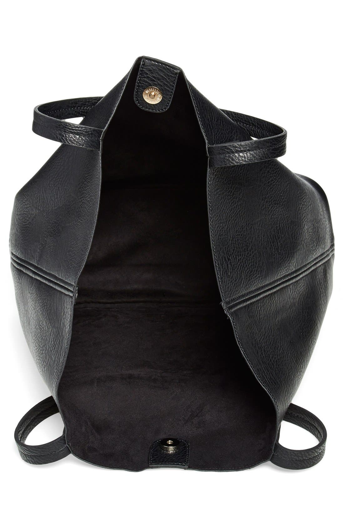Faux Leather Pocket Tote,                             Alternate thumbnail 3, color,                             001