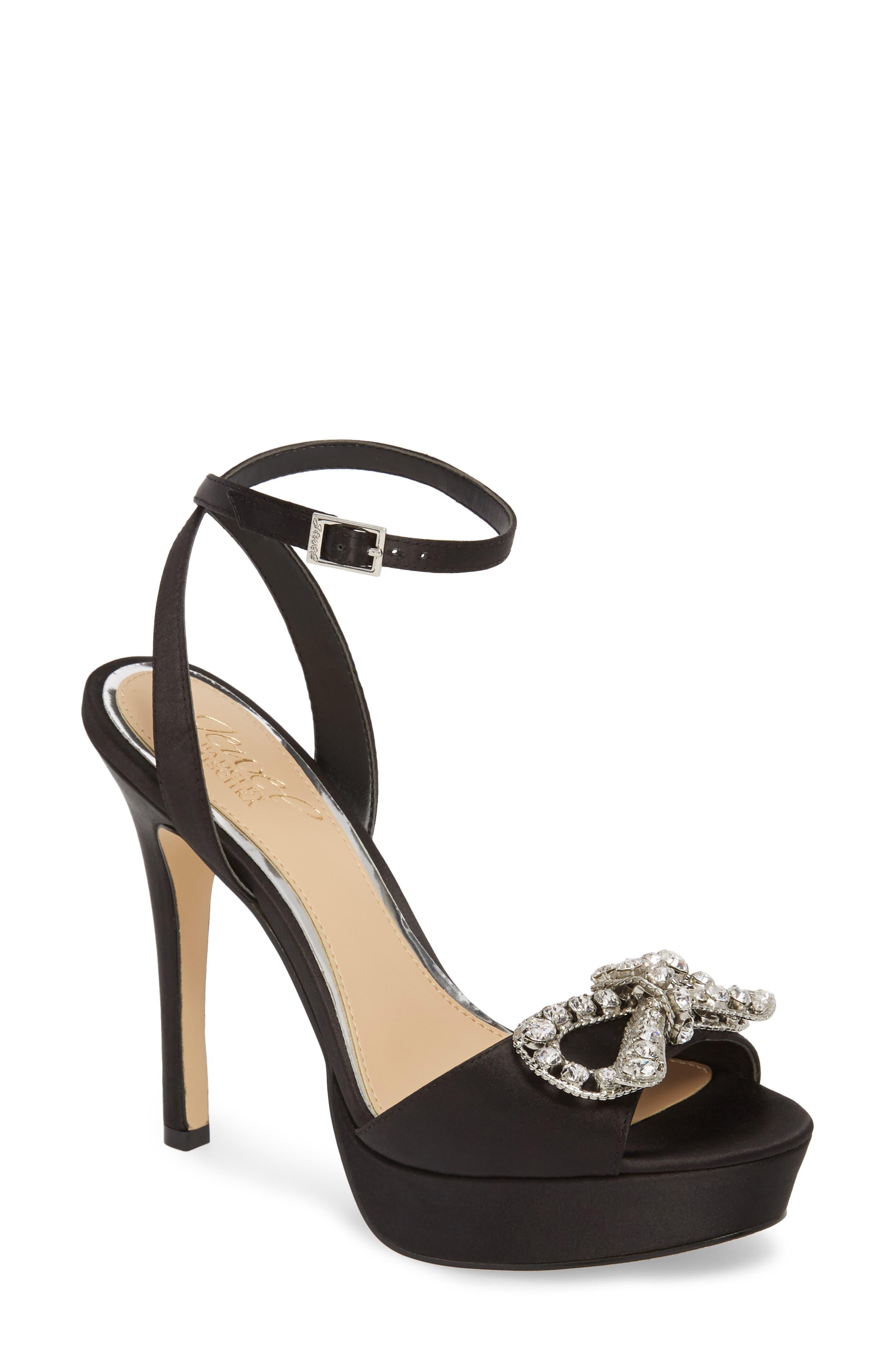 Mildred Crystal Bow Platform Sandal,                         Main,                         color, BLACK SATIN