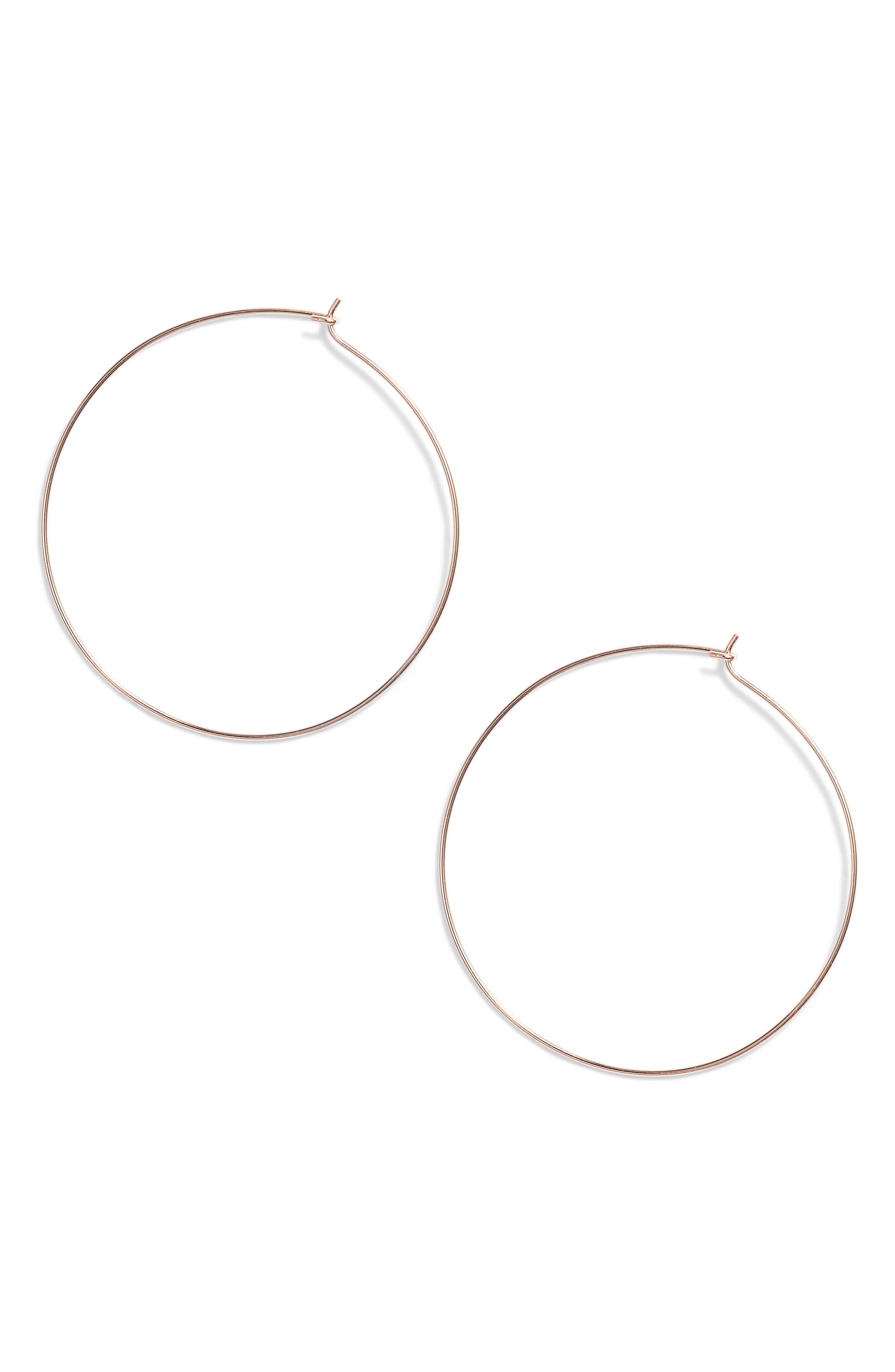 Thin Hoop Earrings,                             Main thumbnail 1, color,                             ROSE GOLD