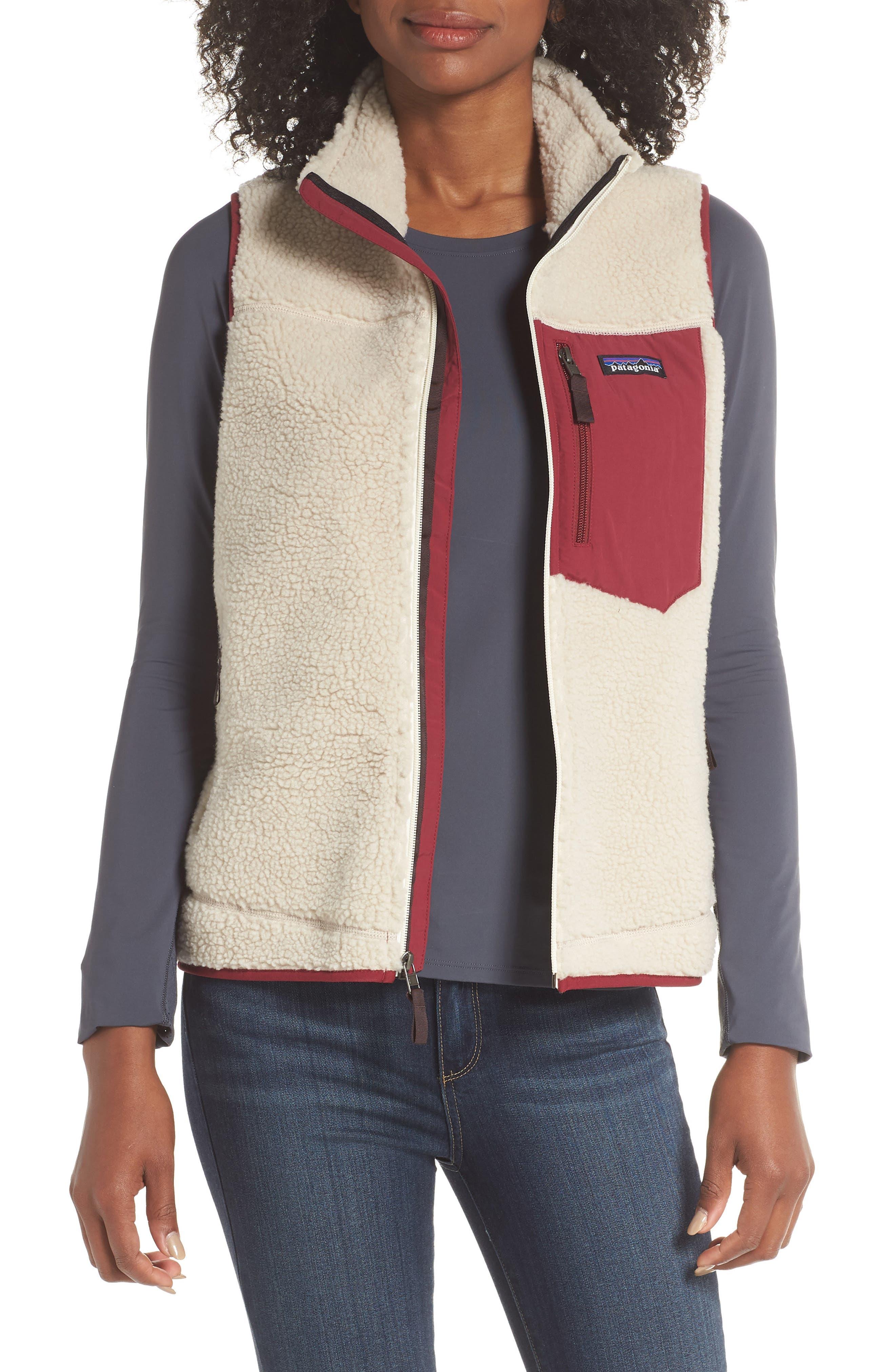 Classic Retro-X<sup>®</sup> Fleece Vest,                         Main,                         color, NATURAL W/ ARROW RED