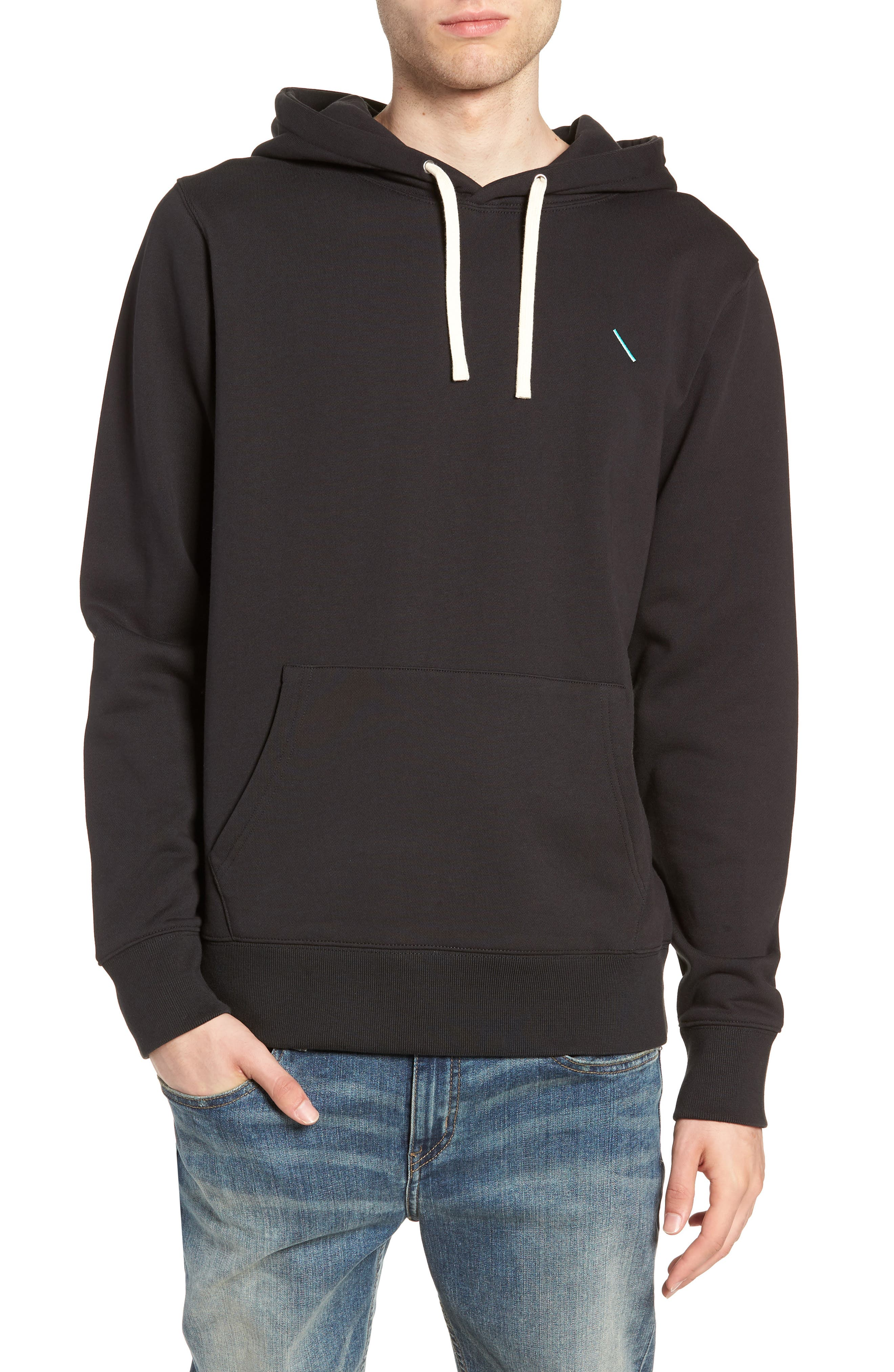 Ditch Embroidered Chest Slash Hooded Sweatshirt,                         Main,                         color, BLACK