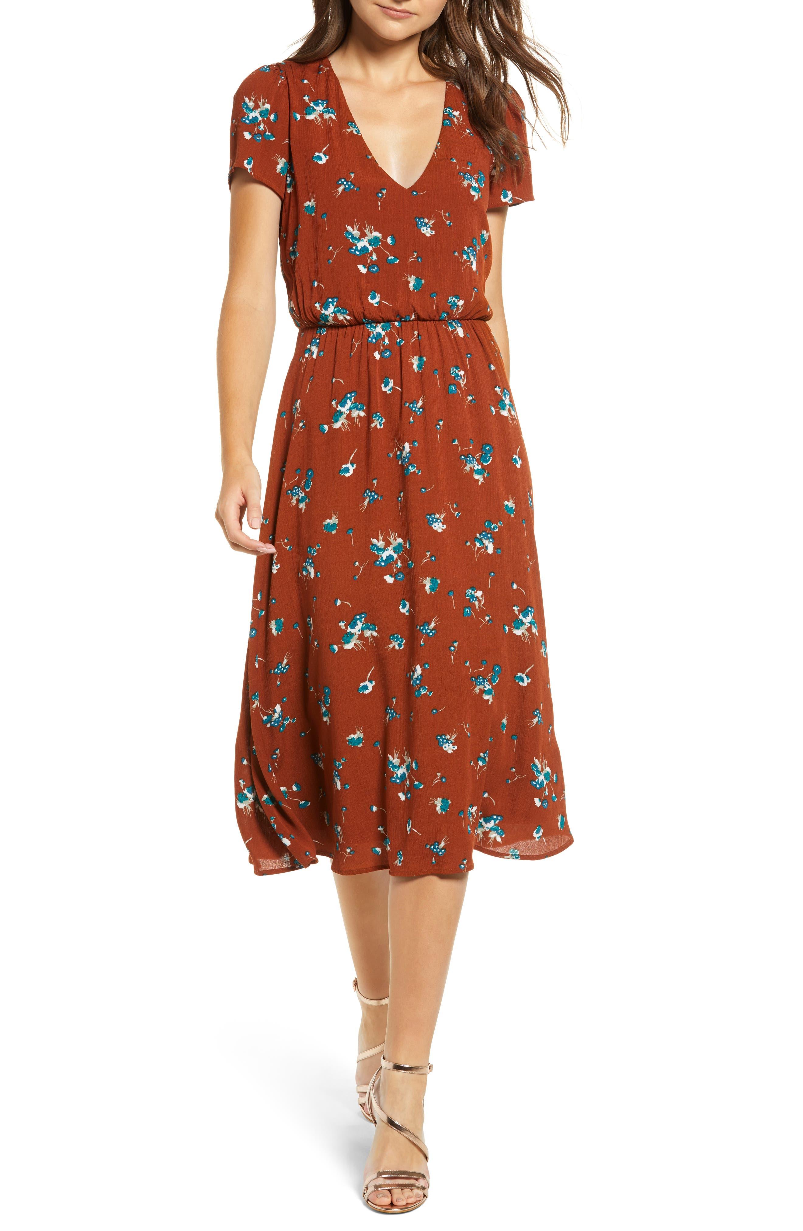 Blouson Midi Dress,                         Main,                         color, BROWN SPICE FLORAL