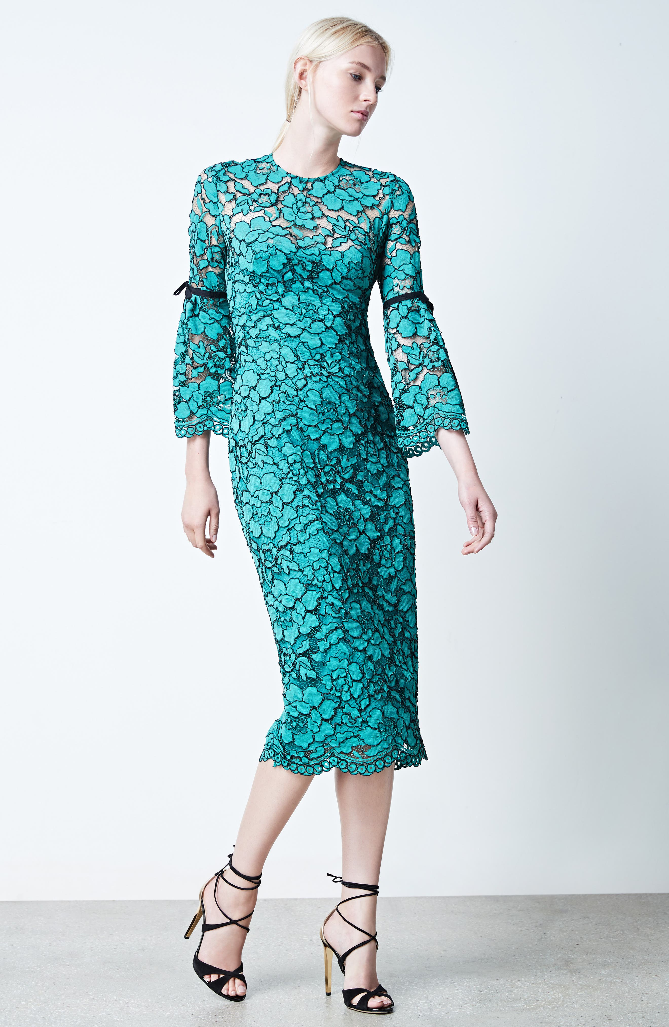 Lace Bell Sleeve Sheath Dress,                             Alternate thumbnail 7, color,