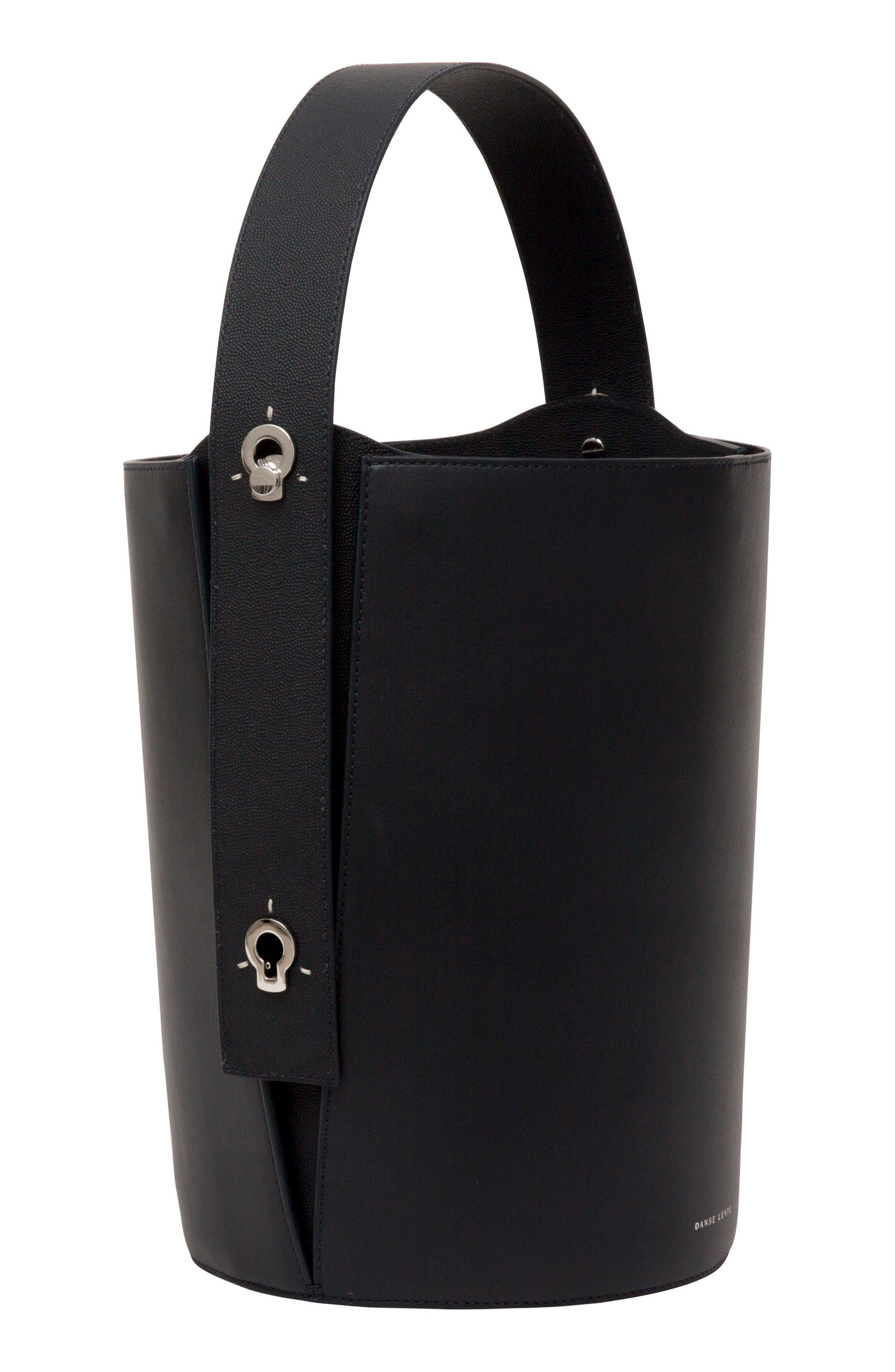 Mini Lorna Leather Bucket Bag,                             Alternate thumbnail 6, color,                             MARINE
