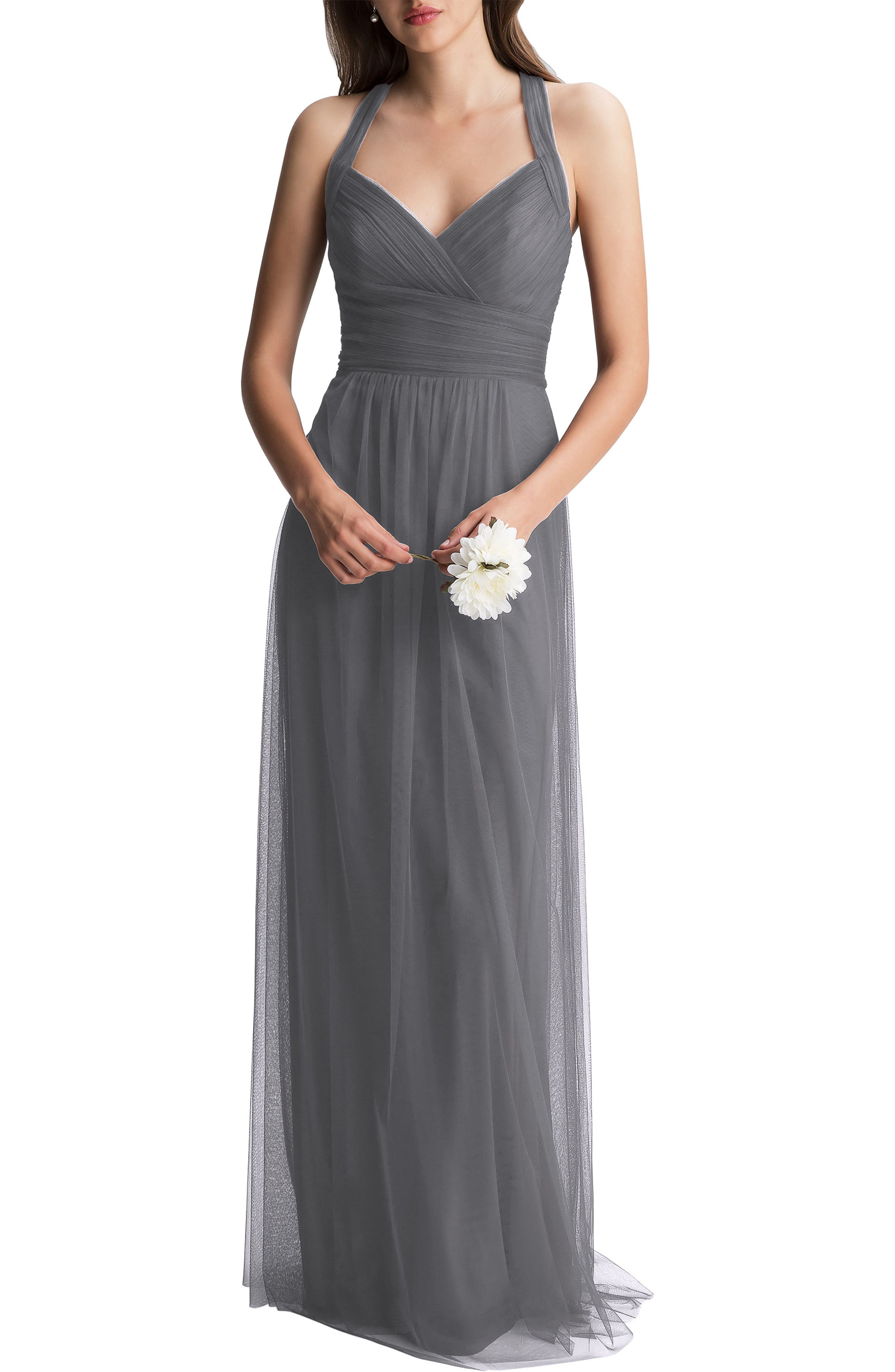 Crisscross Strap English Net A-Line Gown,                             Main thumbnail 1, color,                             PEWTER