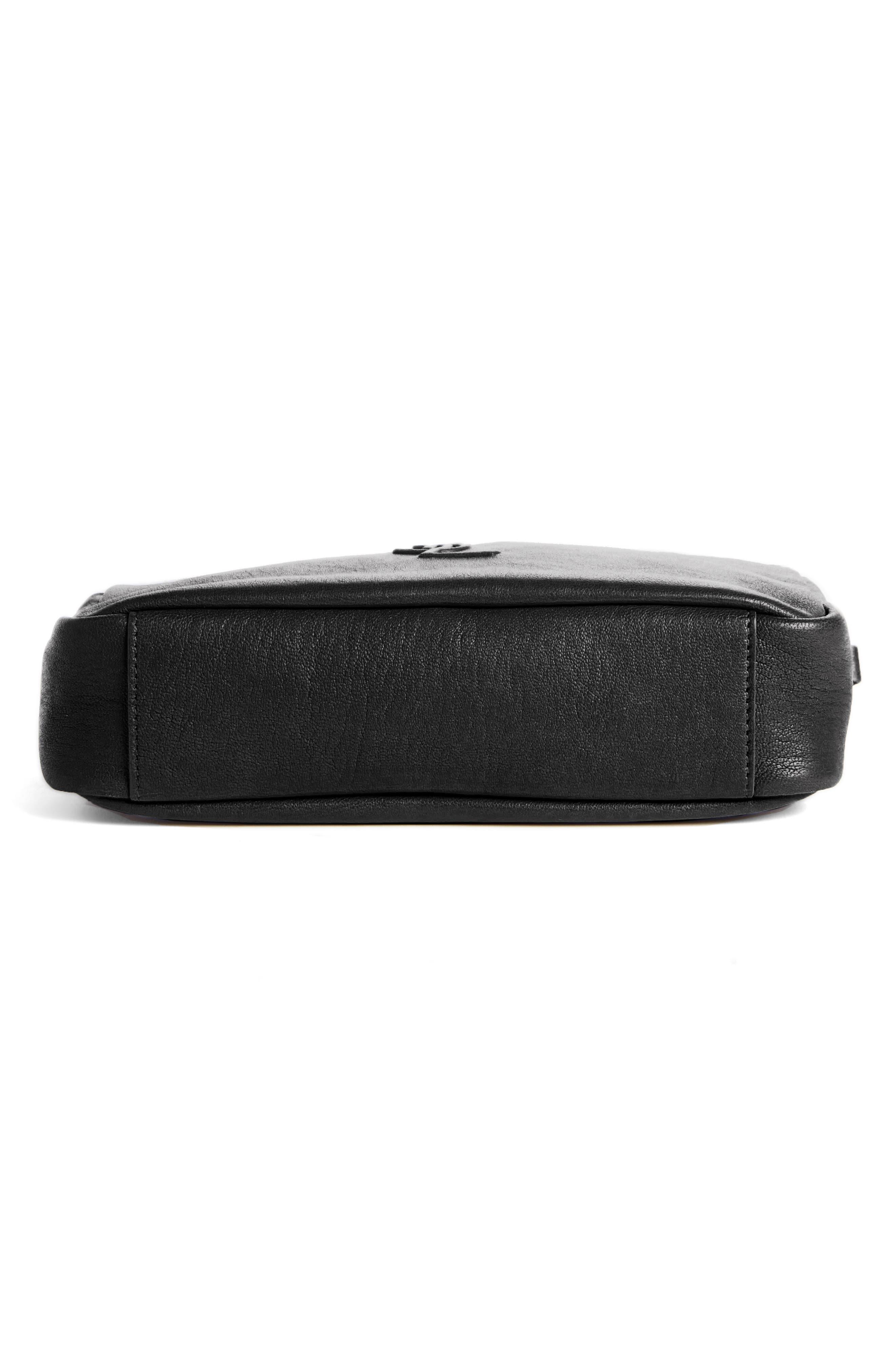 Small Mono Leather Camera Bag,                             Alternate thumbnail 6, color,                             NOIR
