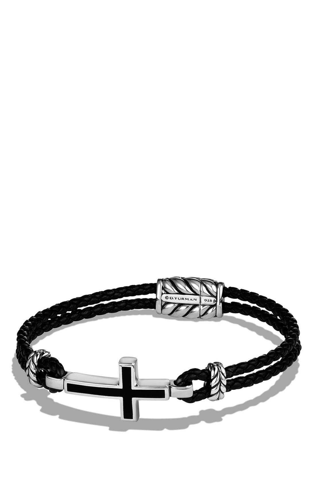 'Exotic Stone' Cross Station Leather Bracelet with Black Onyx,                         Main,                         color, SILVER/ BLACK ONYX