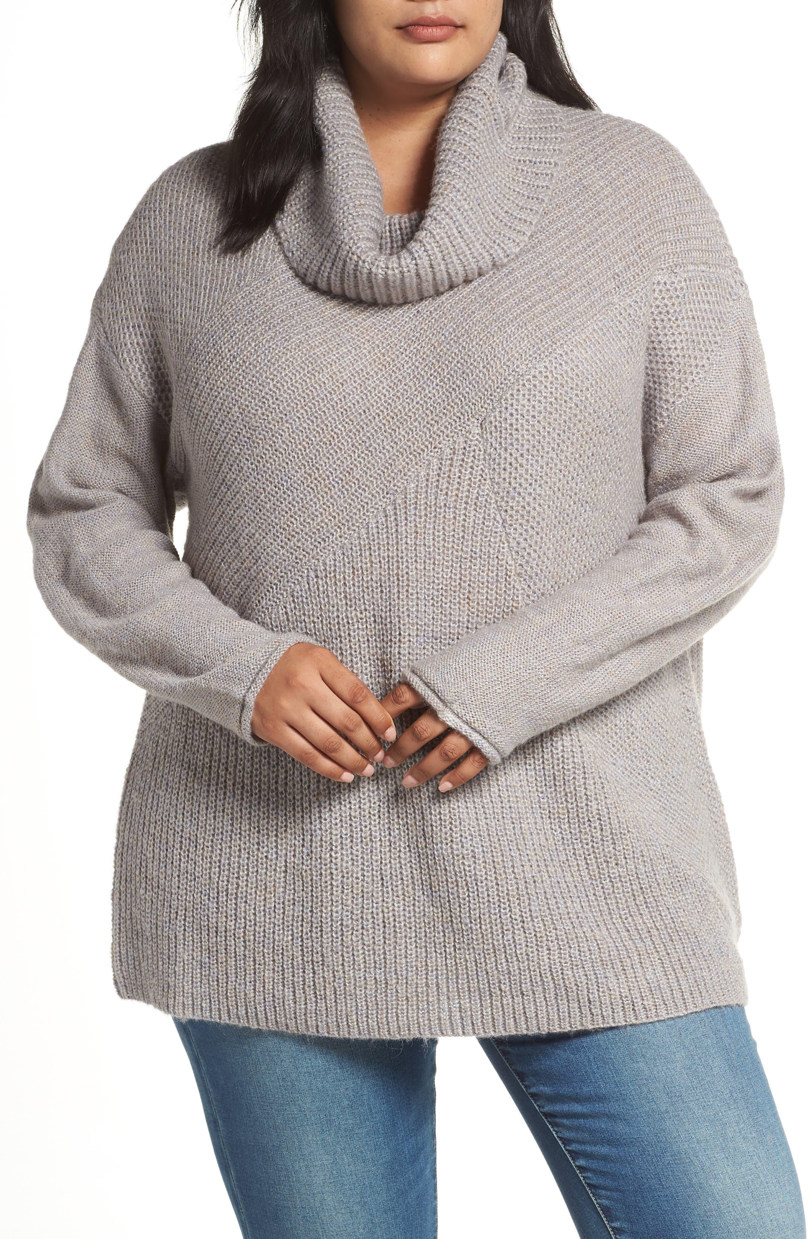 Plus Size Caslon Mix Stitch Wool Blend Funnel Neck Sweater, Grey