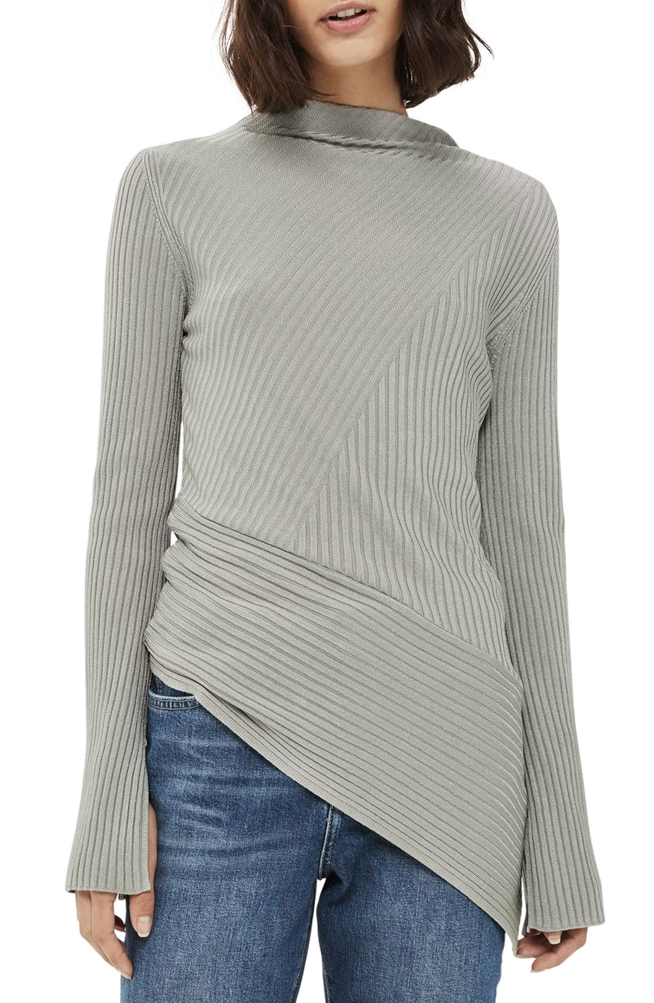 Asymmetrical Ribbed Sweater,                             Main thumbnail 2, color,