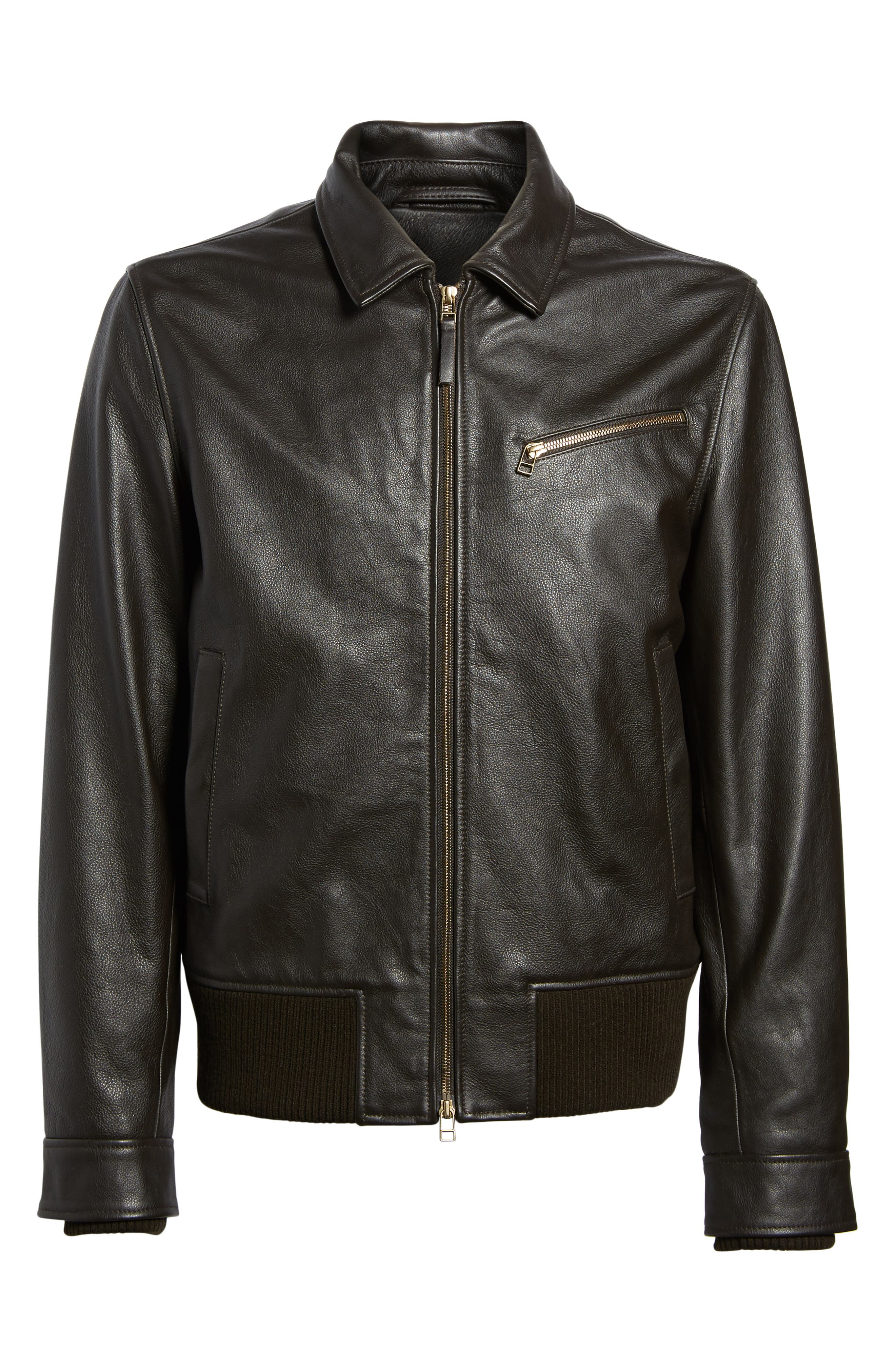 Year Round Leather Jacket,                             Alternate thumbnail 5, color,