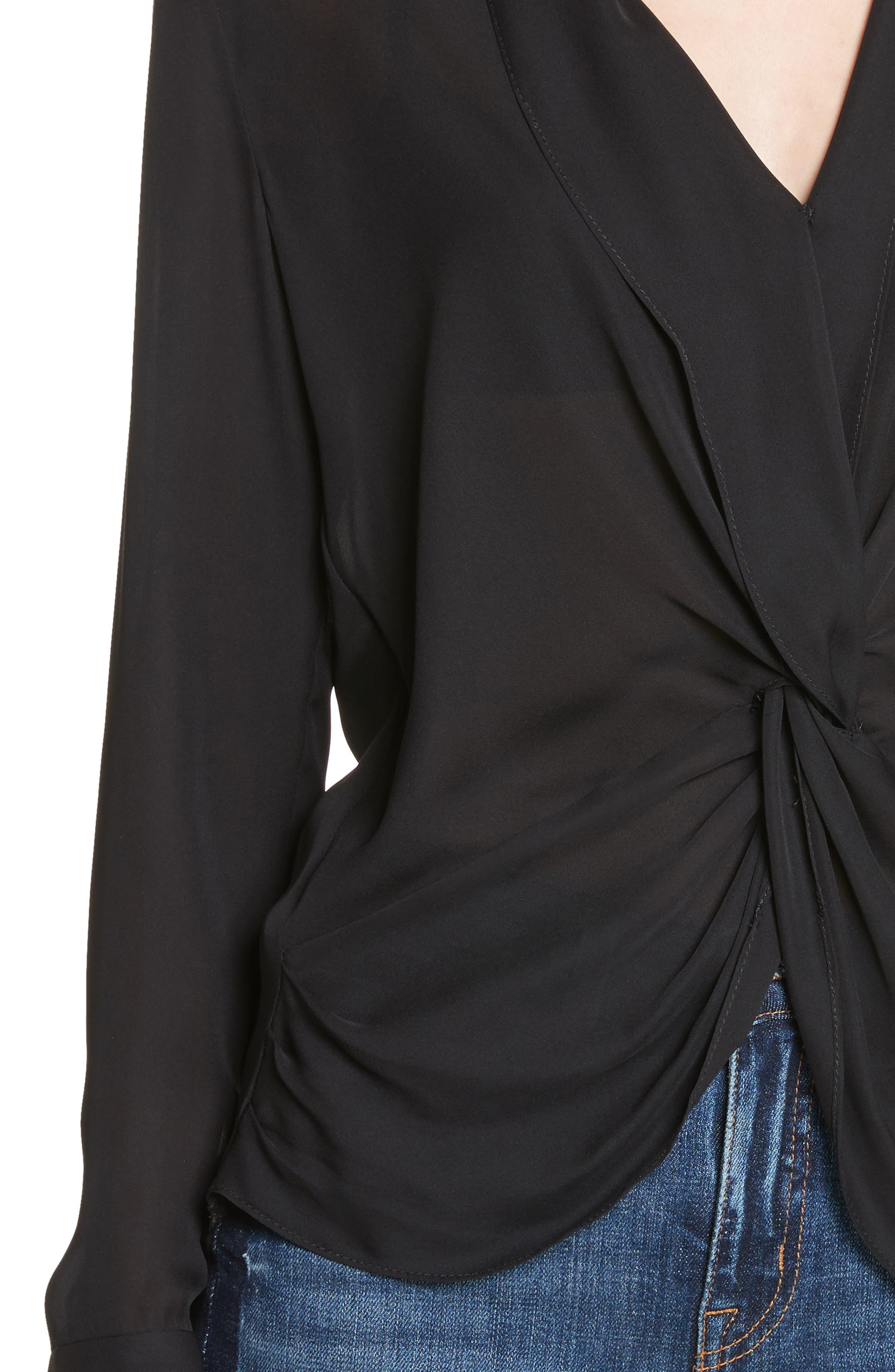 Twist Front Silk Blouse,                             Alternate thumbnail 4, color,                             001