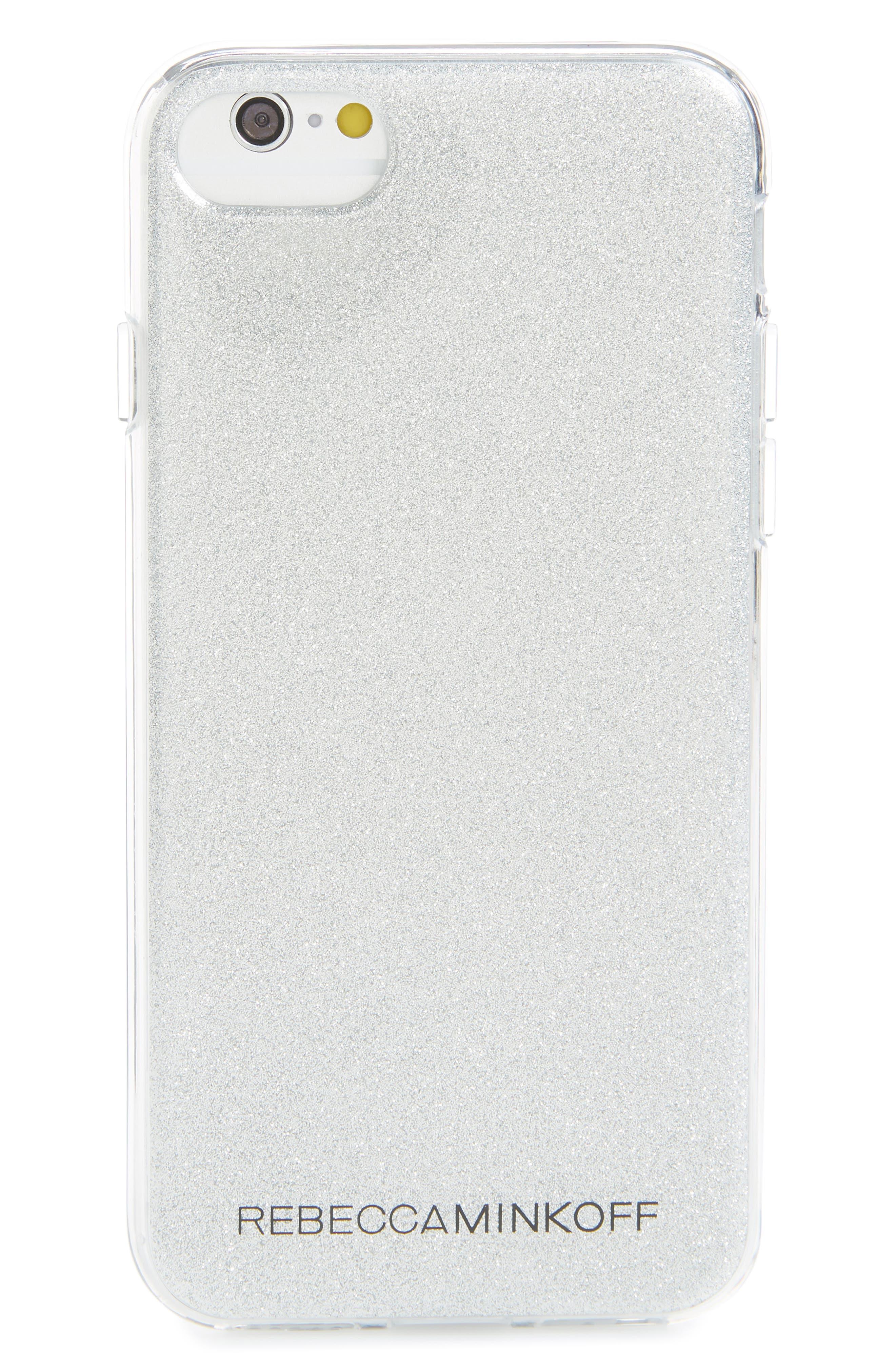 Be More Transparent iPhone 7/8 & 7/8 Plus Case,                             Main thumbnail 1, color,                             SILVER GLITTER