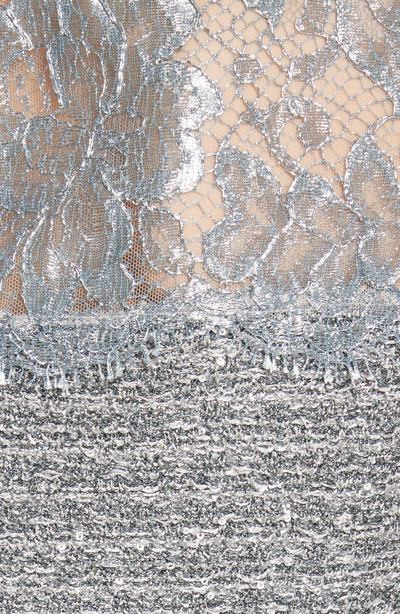 Metallic Knit Gown,                             Alternate thumbnail 5, color,                             020