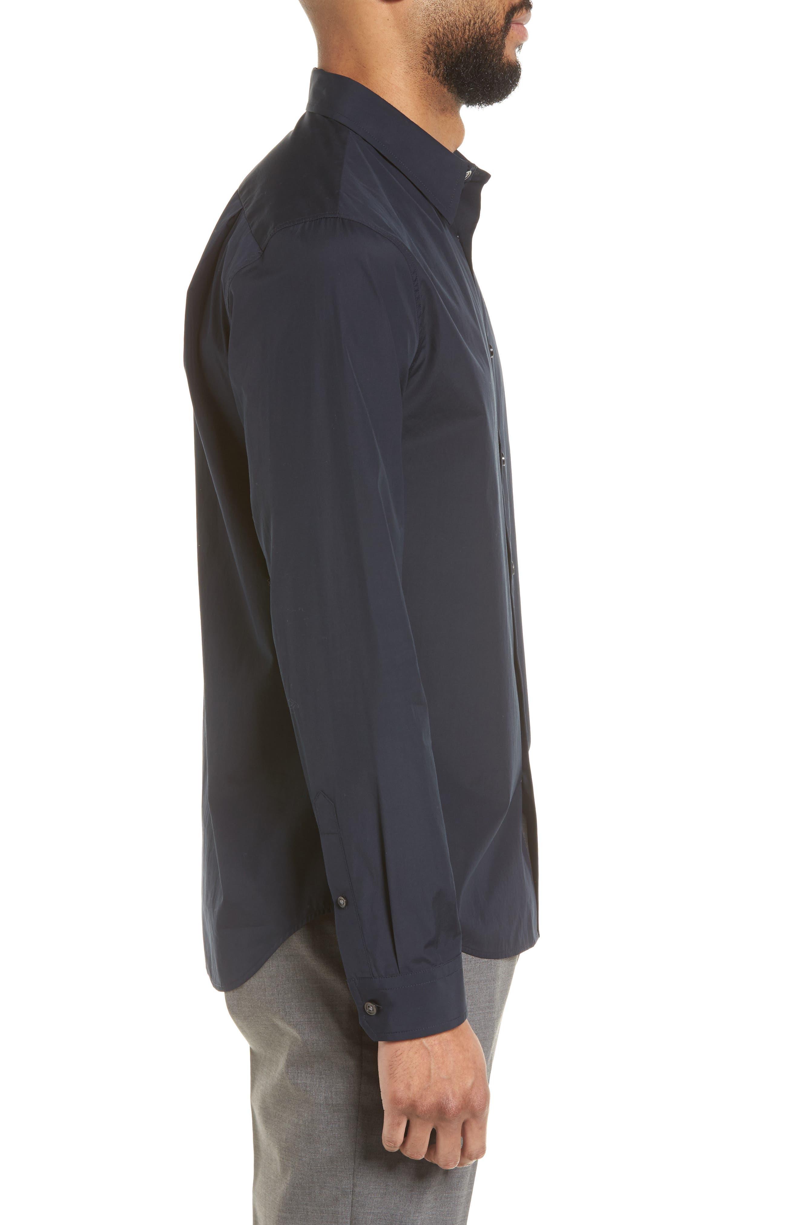 Poplin Slim Fit Sport Shirt,                             Alternate thumbnail 3, color,                             400