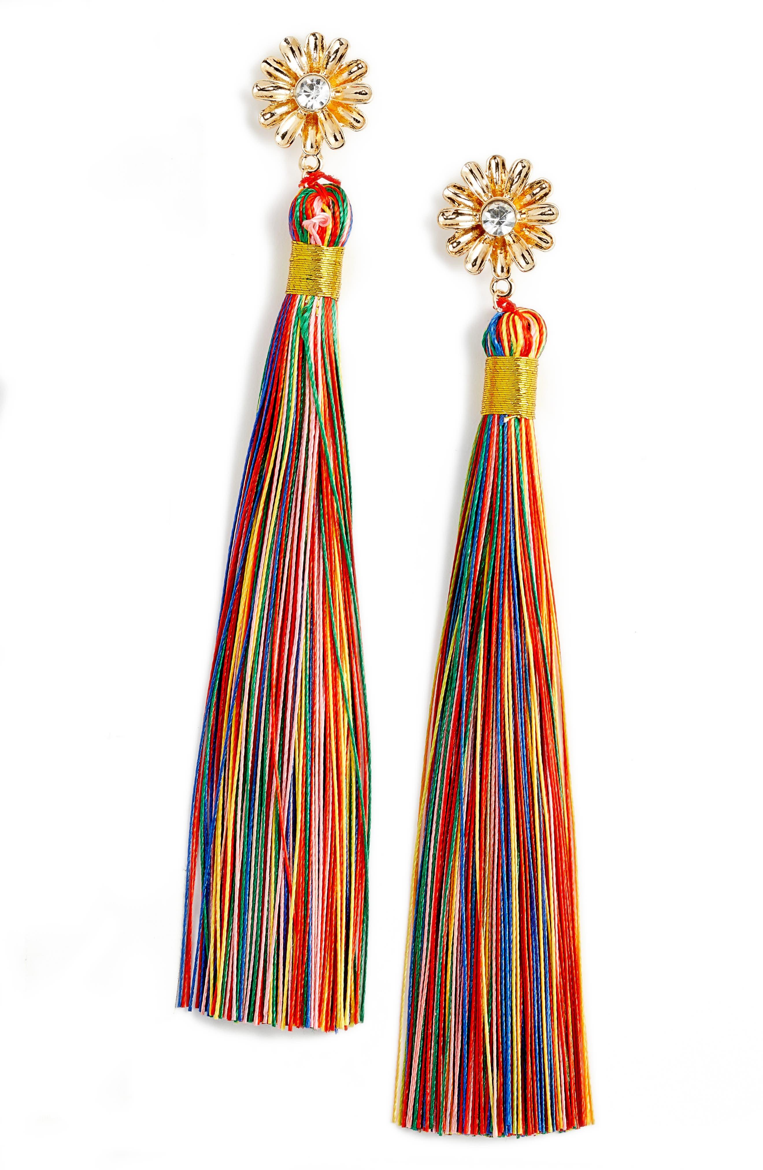 Dolce Tassel Earrings,                             Main thumbnail 1, color,                             GOLD/ MULTI