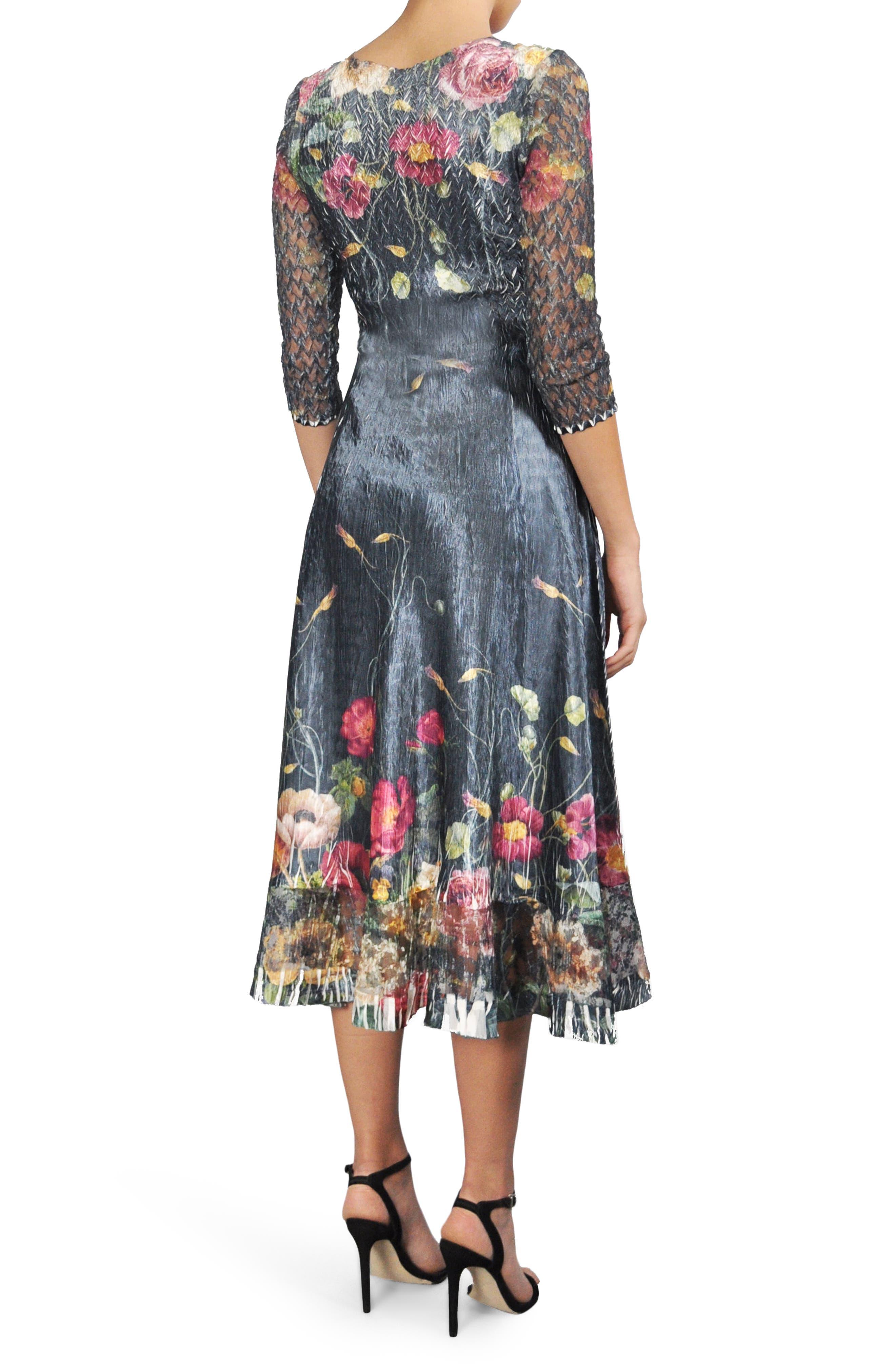 Print A-Line Midi Dress,                             Alternate thumbnail 2, color,                             409