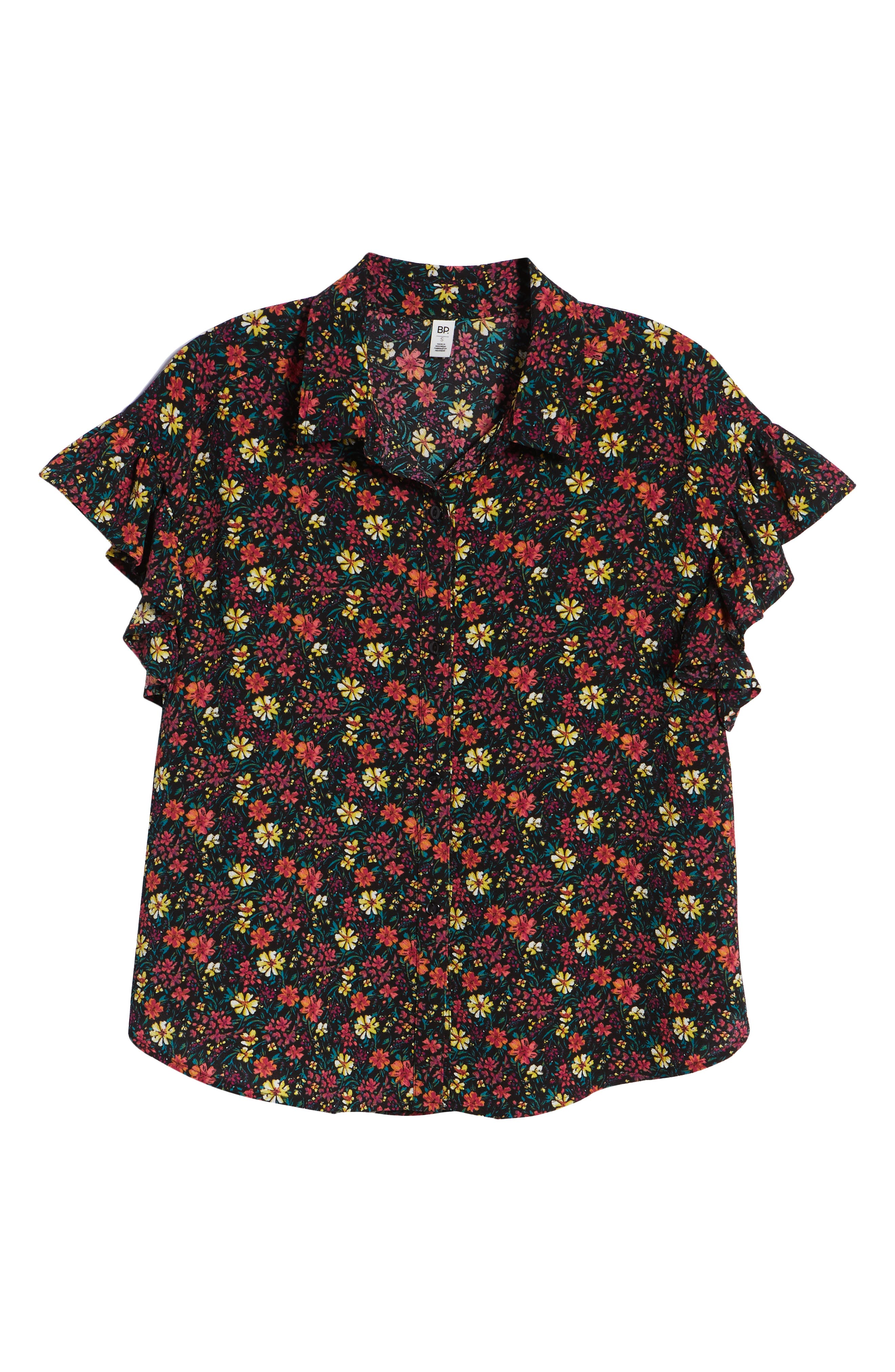 Ruffle Sleeve Print Shirt,                             Alternate thumbnail 7, color,                             BLACK MIX N MATCH A