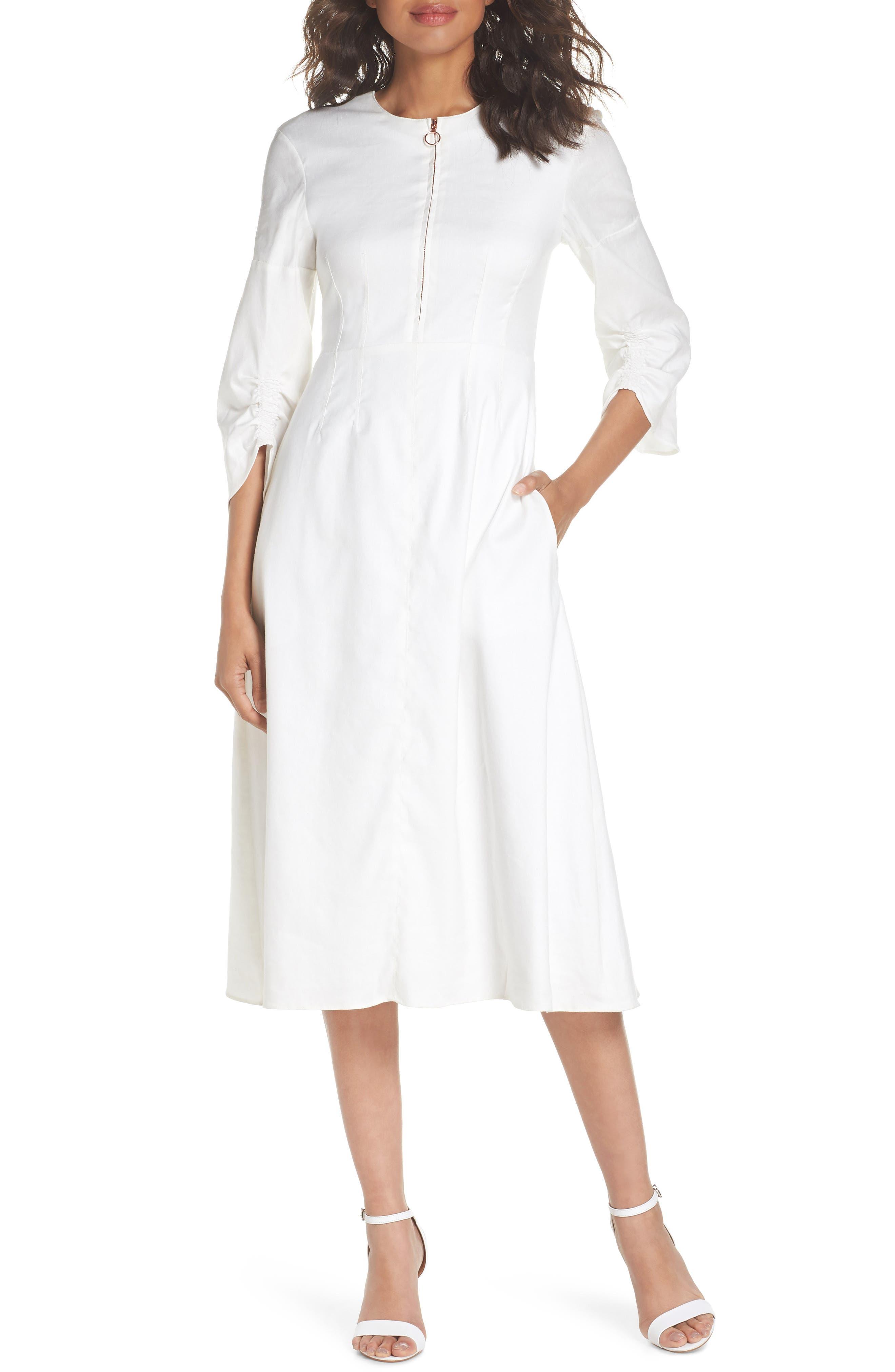 Zip Front Linen Blend Dress,                         Main,                         color, WHITE